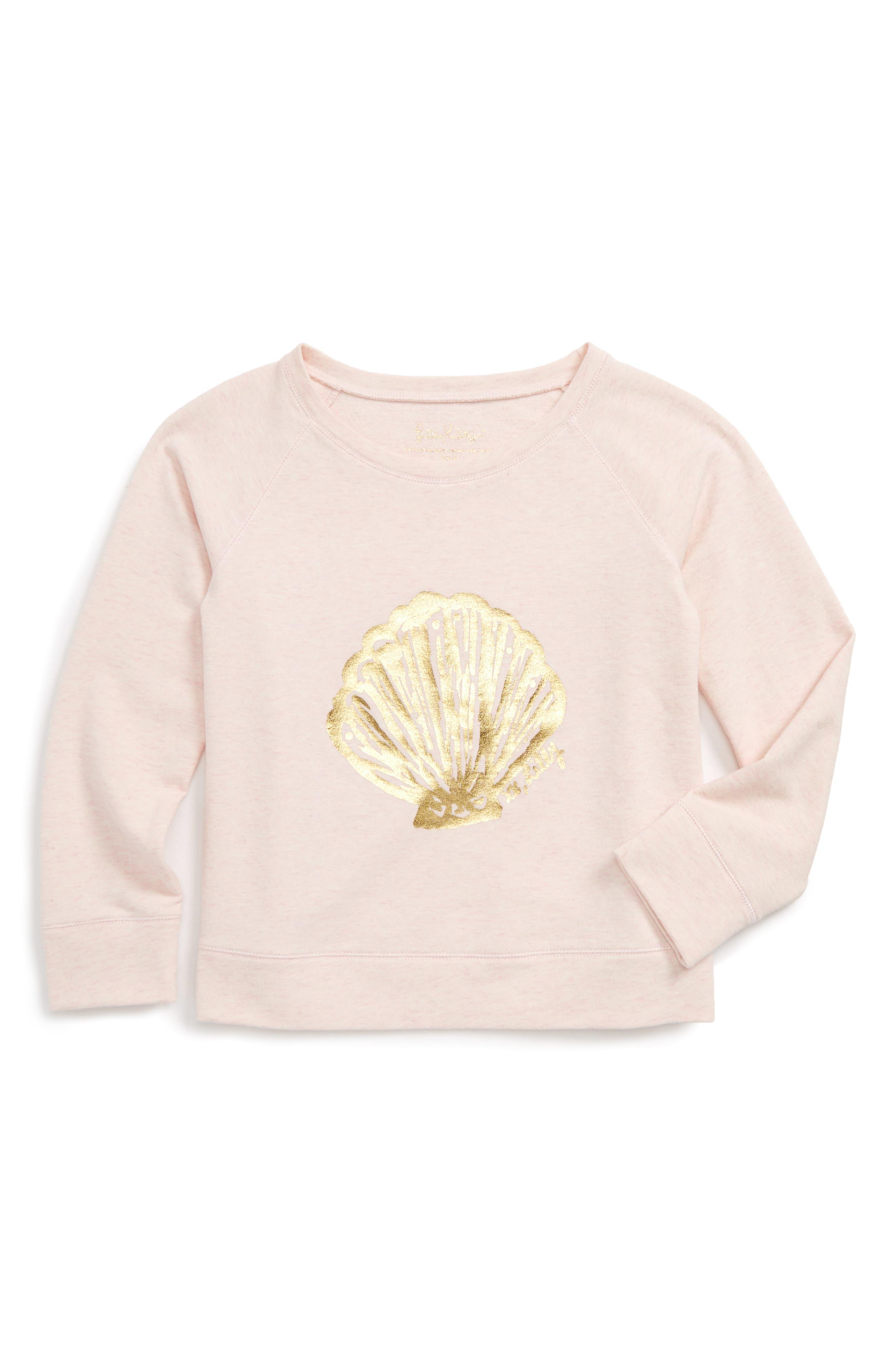 Lilly Pulitzer Shara Graphic Print Sweatshirt,                             Main thumbnail 1, color,                             Paradise Pink Shell