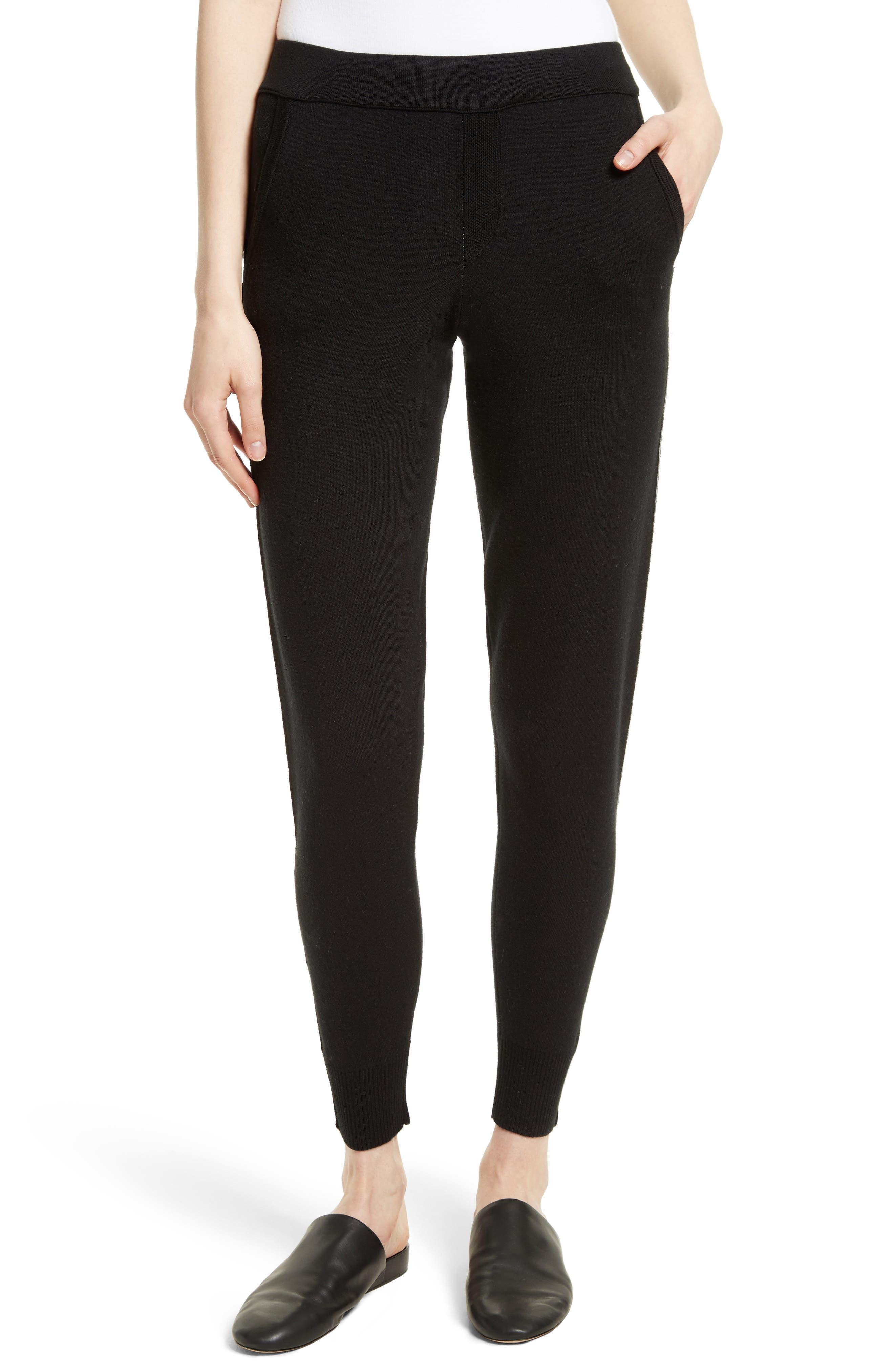 Cotton Blend Knit Sweatpants,                             Main thumbnail 1, color,                             Black/ Foggy