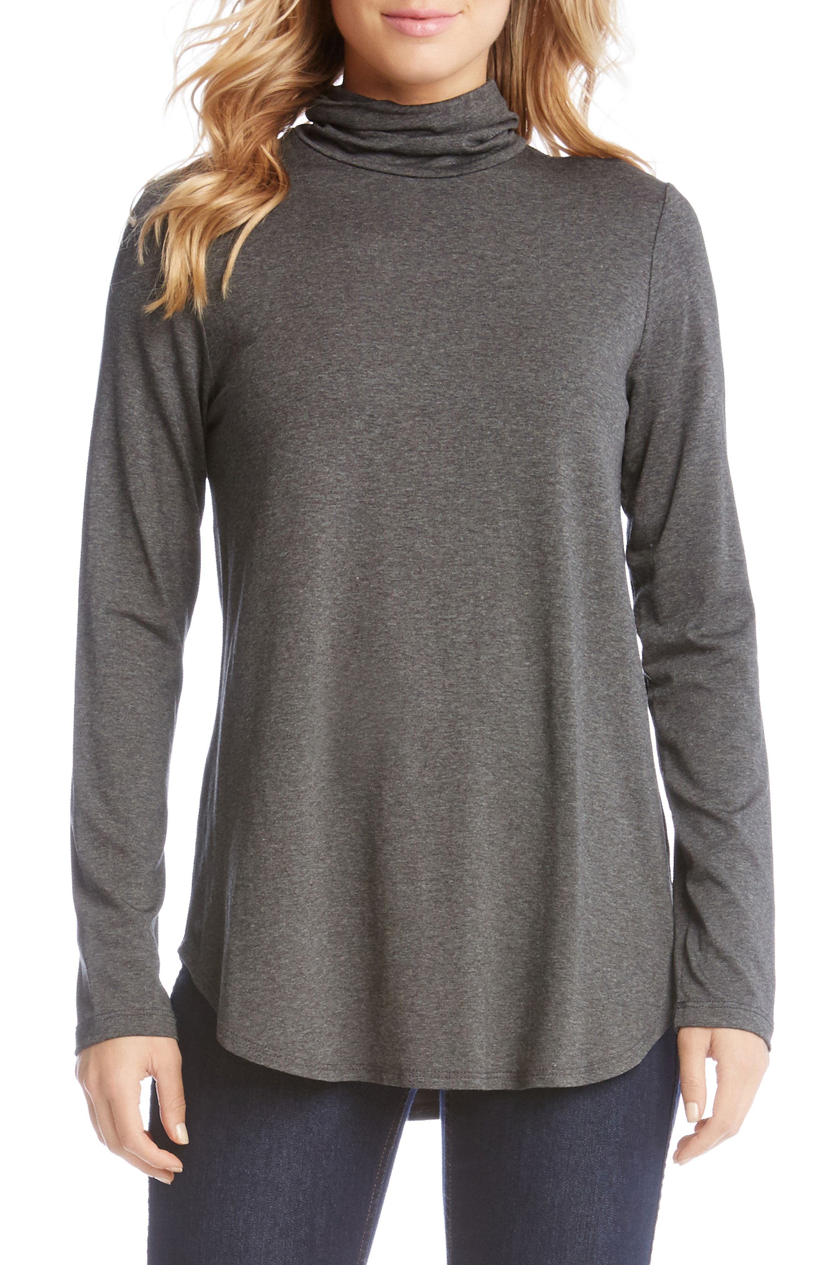 Long Sleeve Turtleneck Tee,                         Main,                         color, Dark Heather Grey