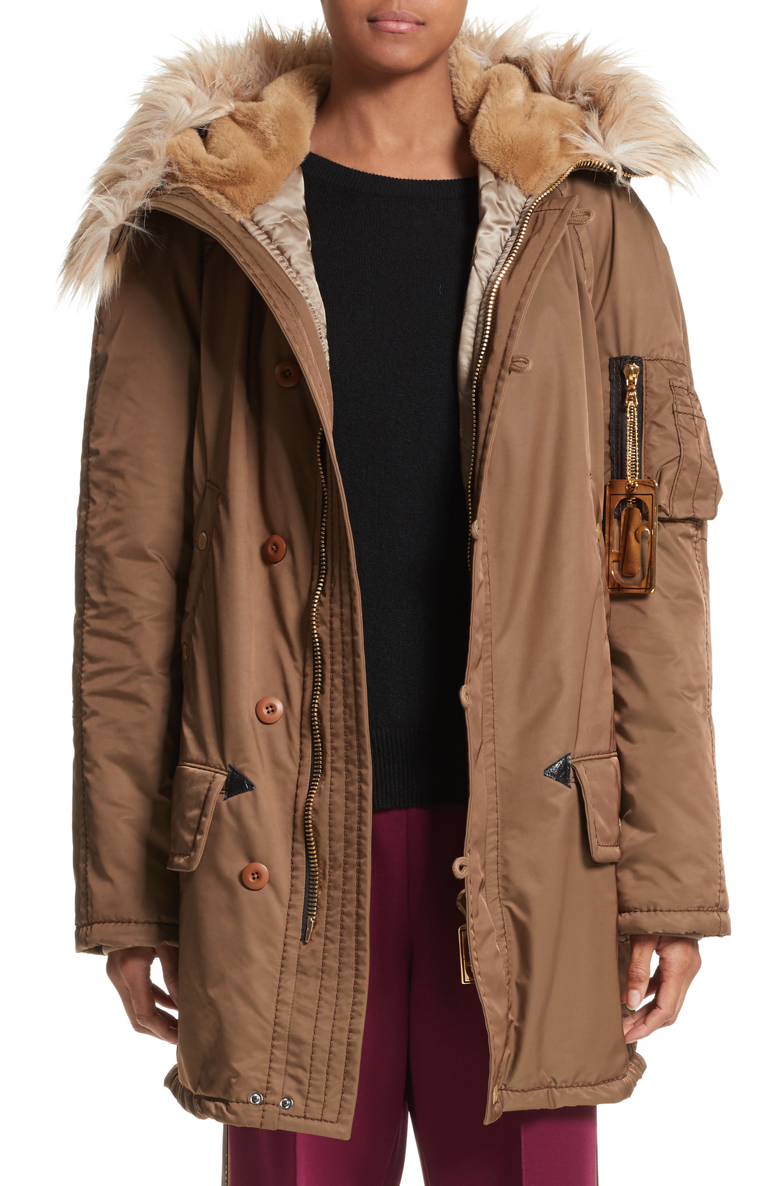 Parka with Faux Fur Trim Hood,                         Main,                         color, Brown