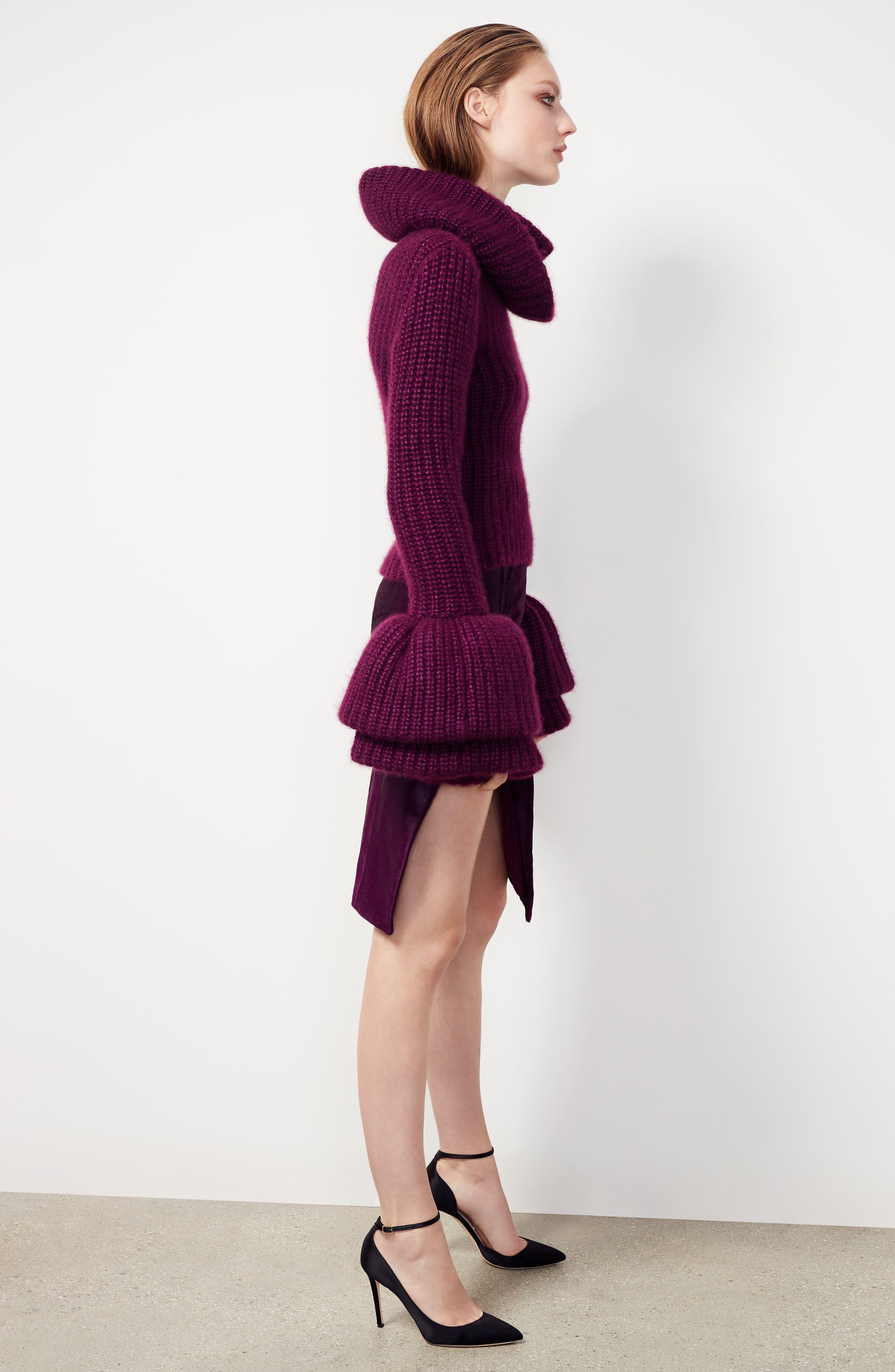 Genuine Calf Hair Pencil Skirt,                             Alternate thumbnail 2, color,                             Purple