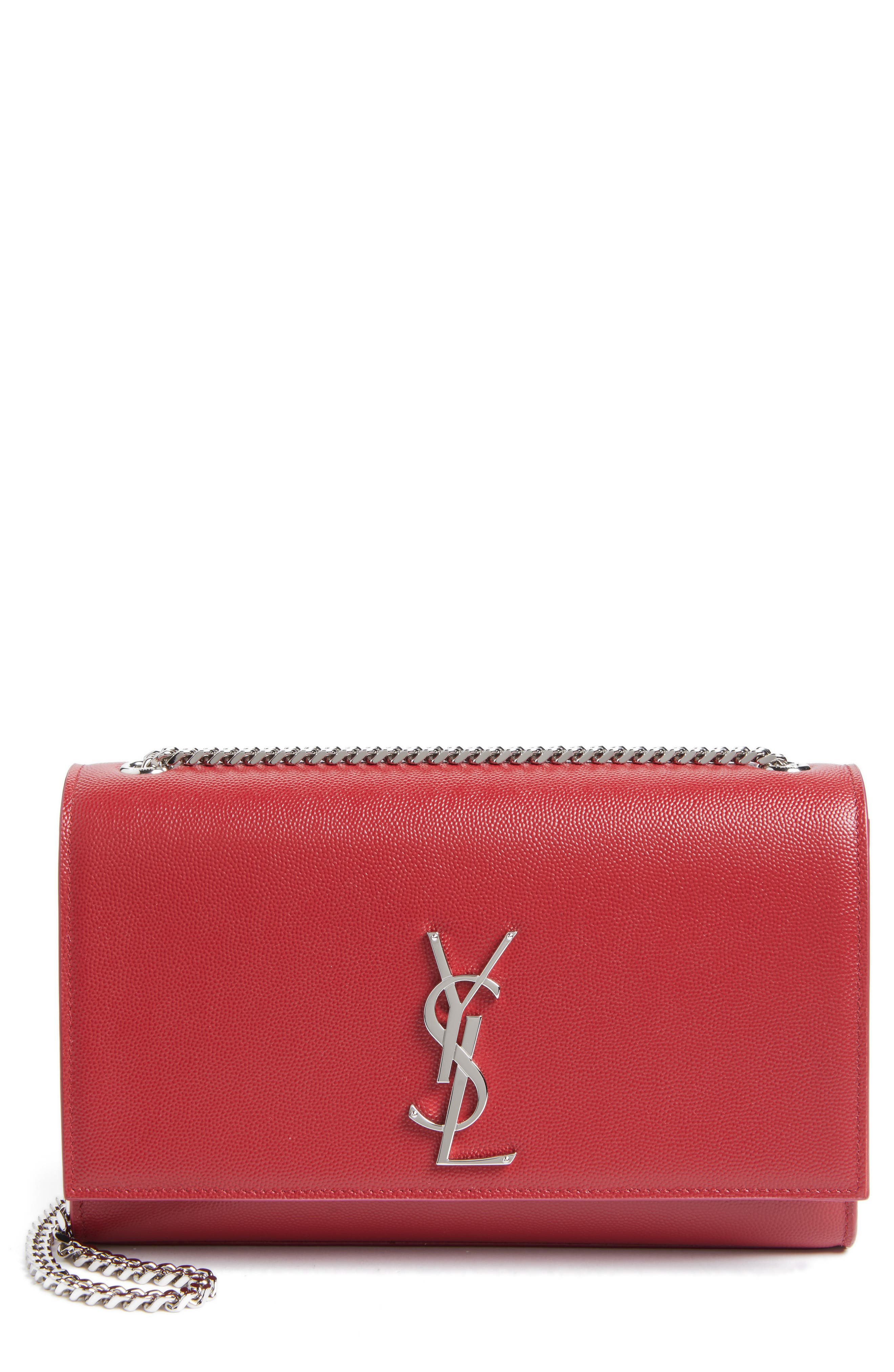 Saint Laurent Medium Kate Calfskin Leather Wallet on a Chain