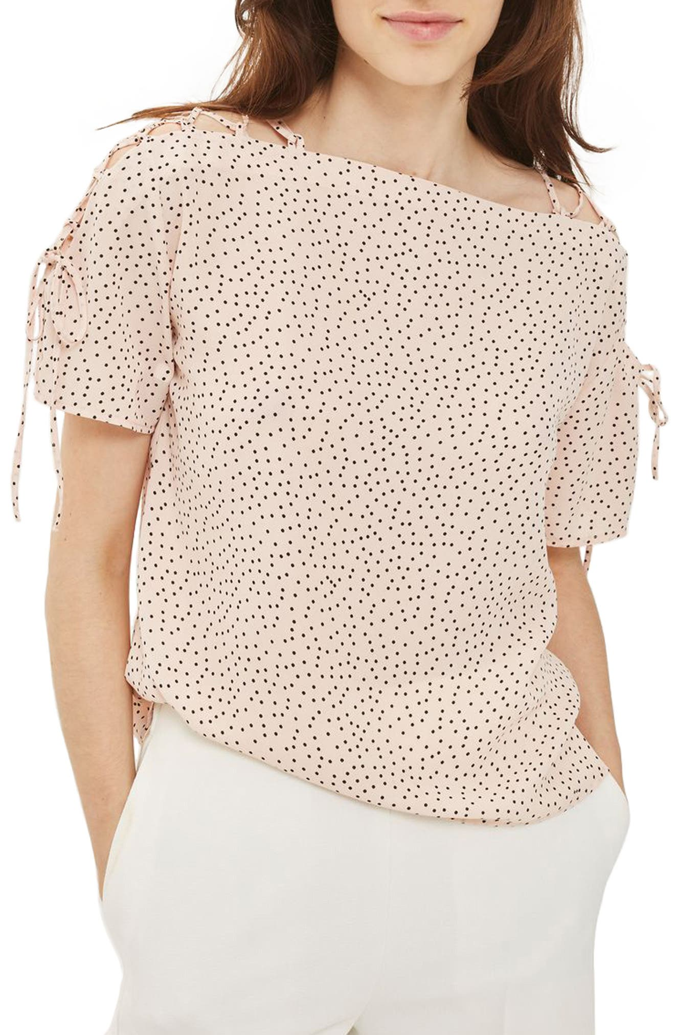 Topshop Spot Lattice Shoulder Top