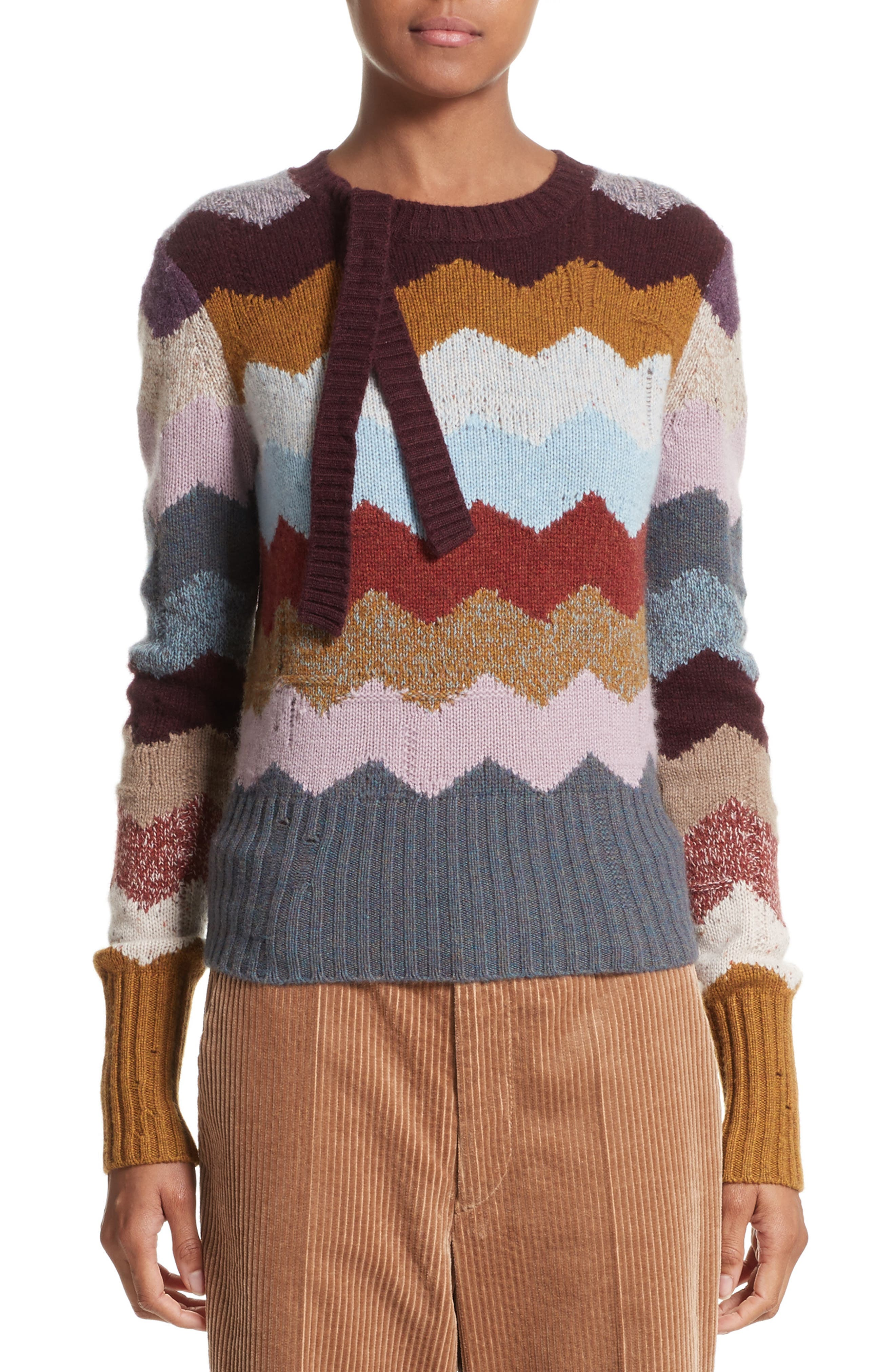 MARC JACOBS Intarsia Chevron Cashmere Sweater