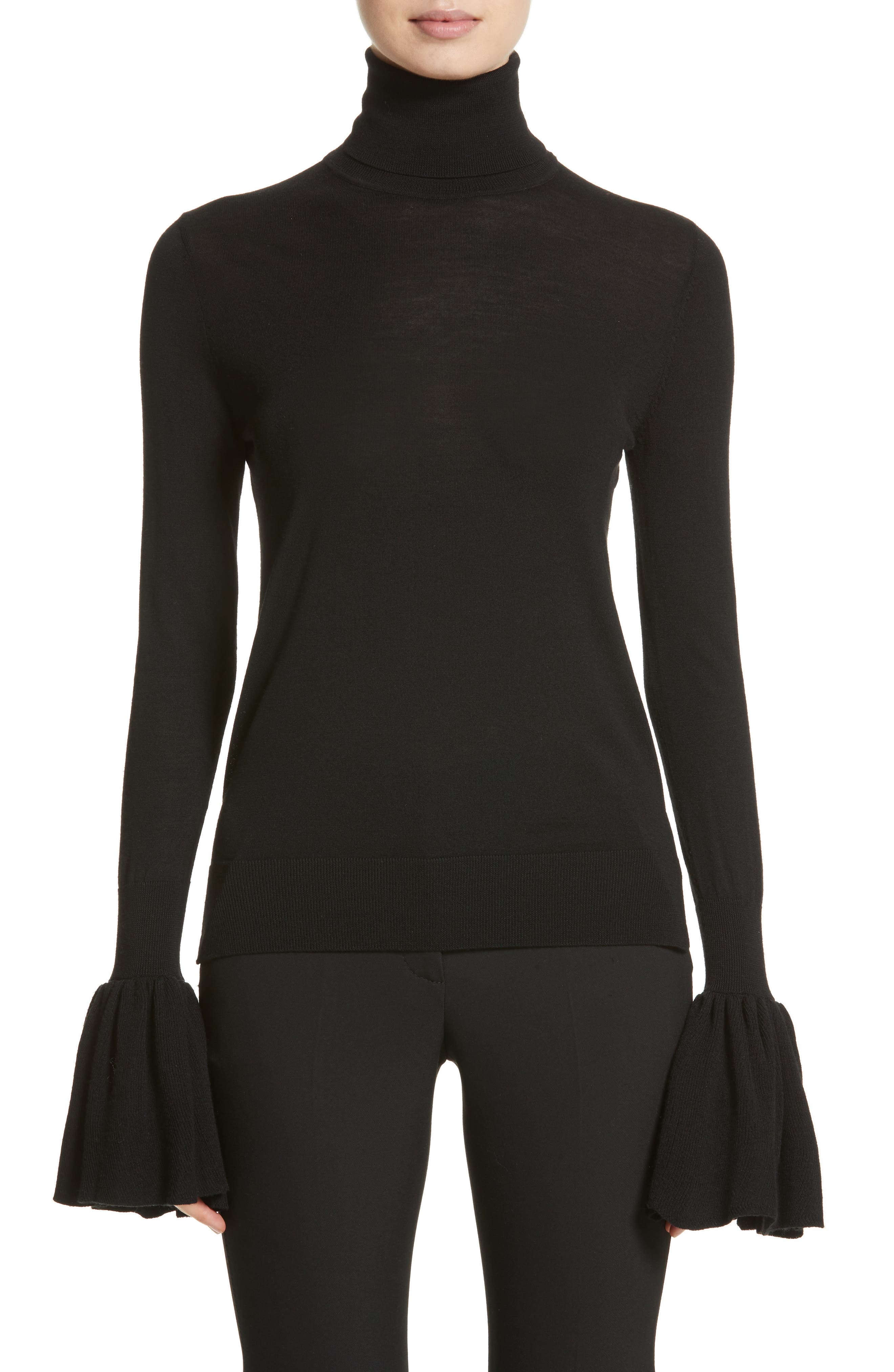 Adam Lippes Bell Sleeve Merino Wool Turtleneck Sweater