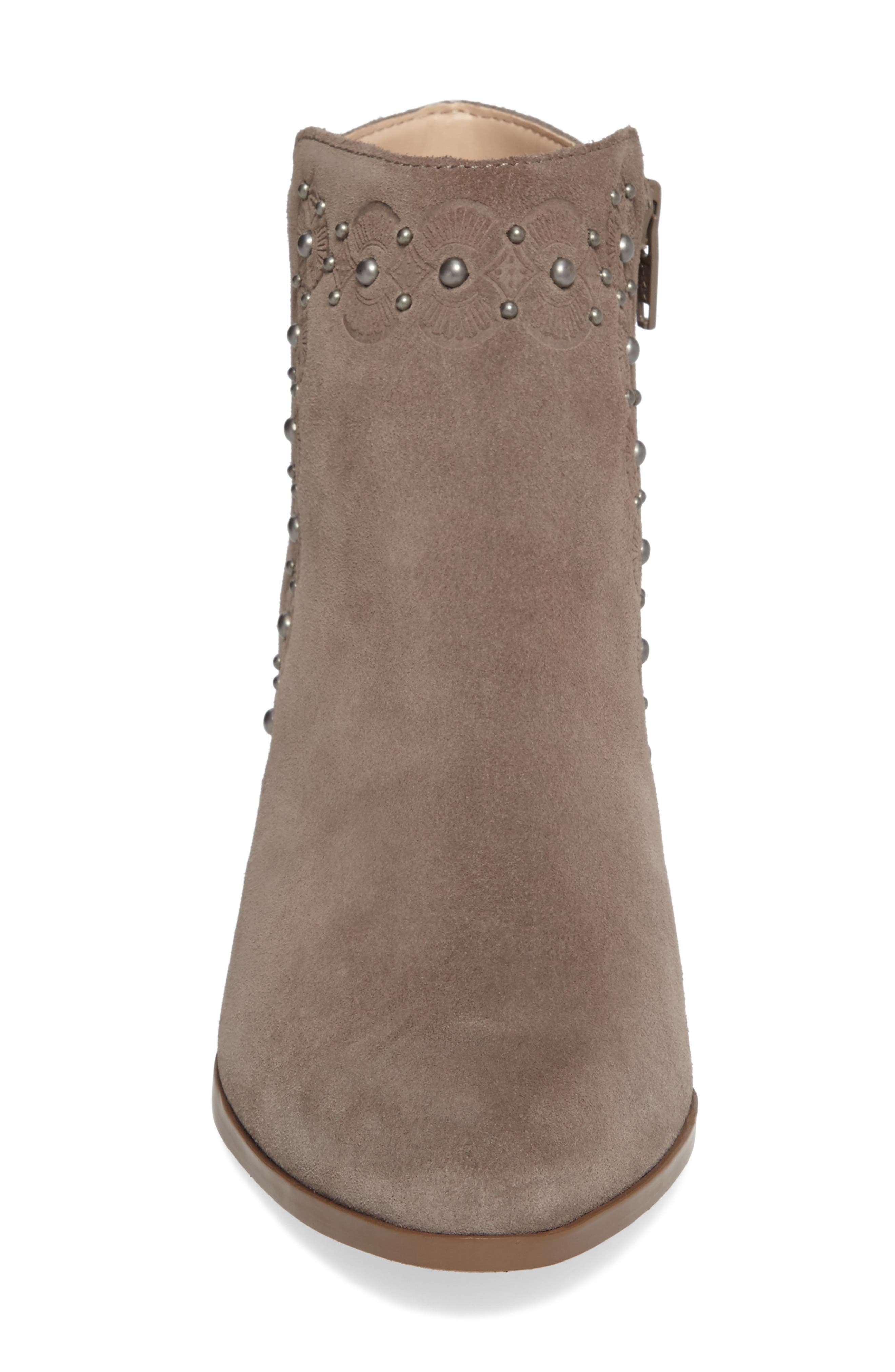 Gala Studded Embossed Bootie,                             Alternate thumbnail 4, color,                             Mushroom Suede