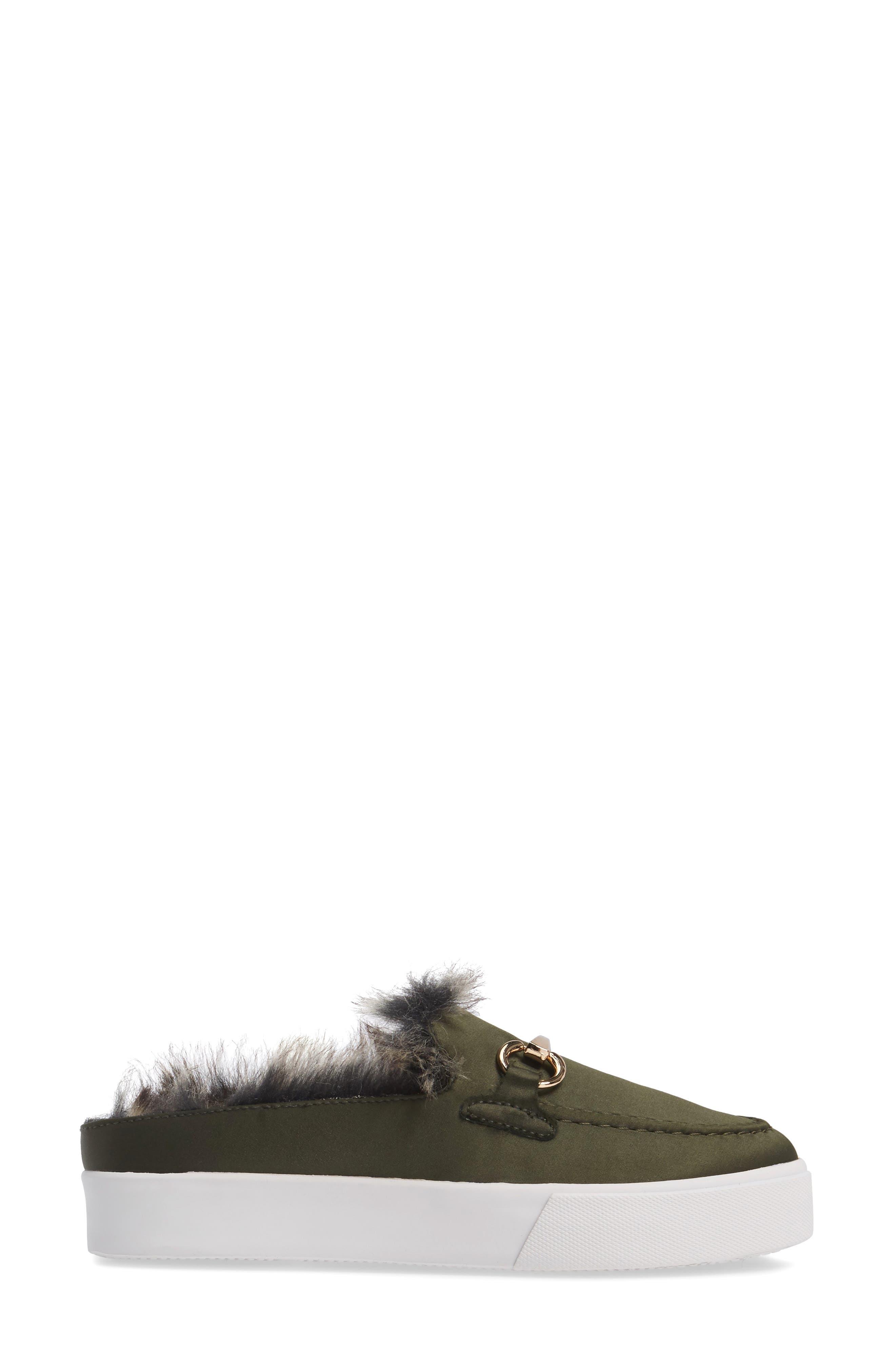 Tico Faux Fur Sneaker Mule,                             Alternate thumbnail 3, color,                             Olive Satin-Gold-Grey