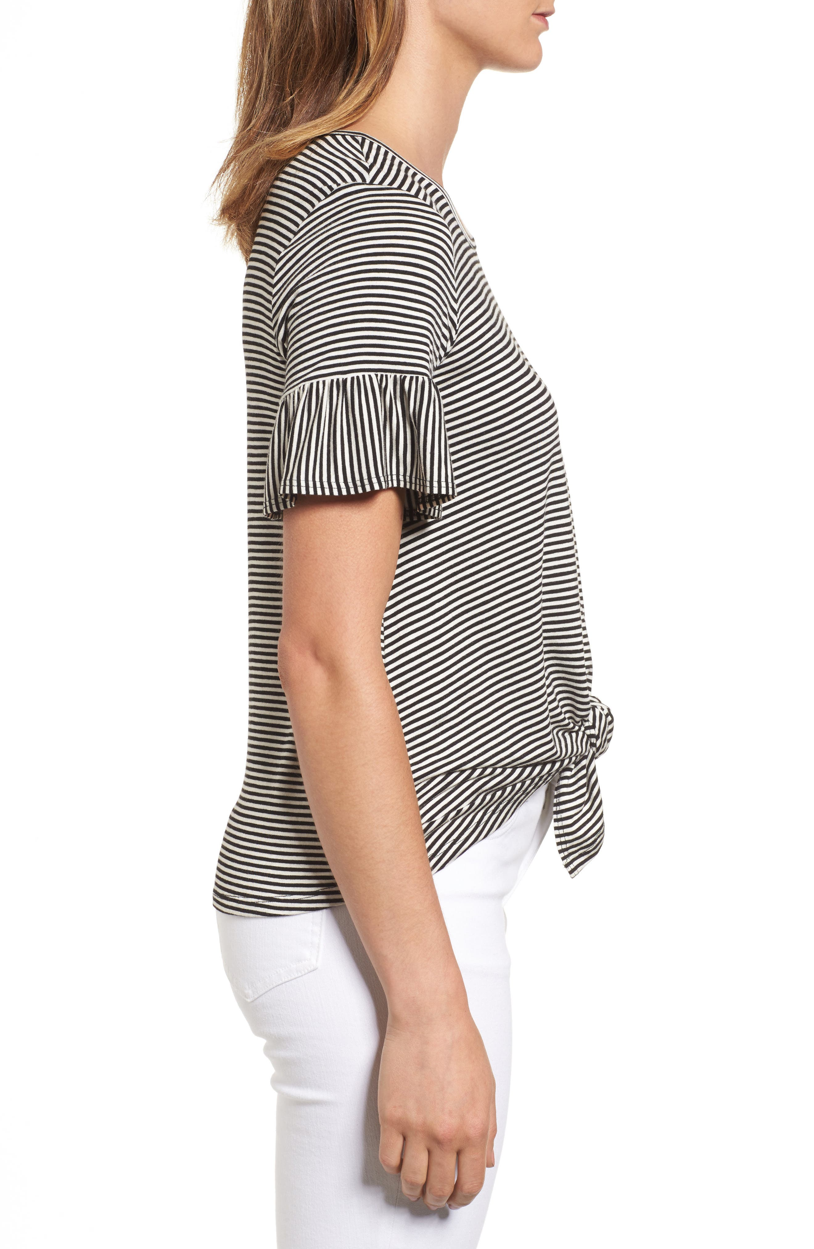 Alternate Image 3  - Bobeau Bell Sleeve Tie Front Top (Regular & Petite)