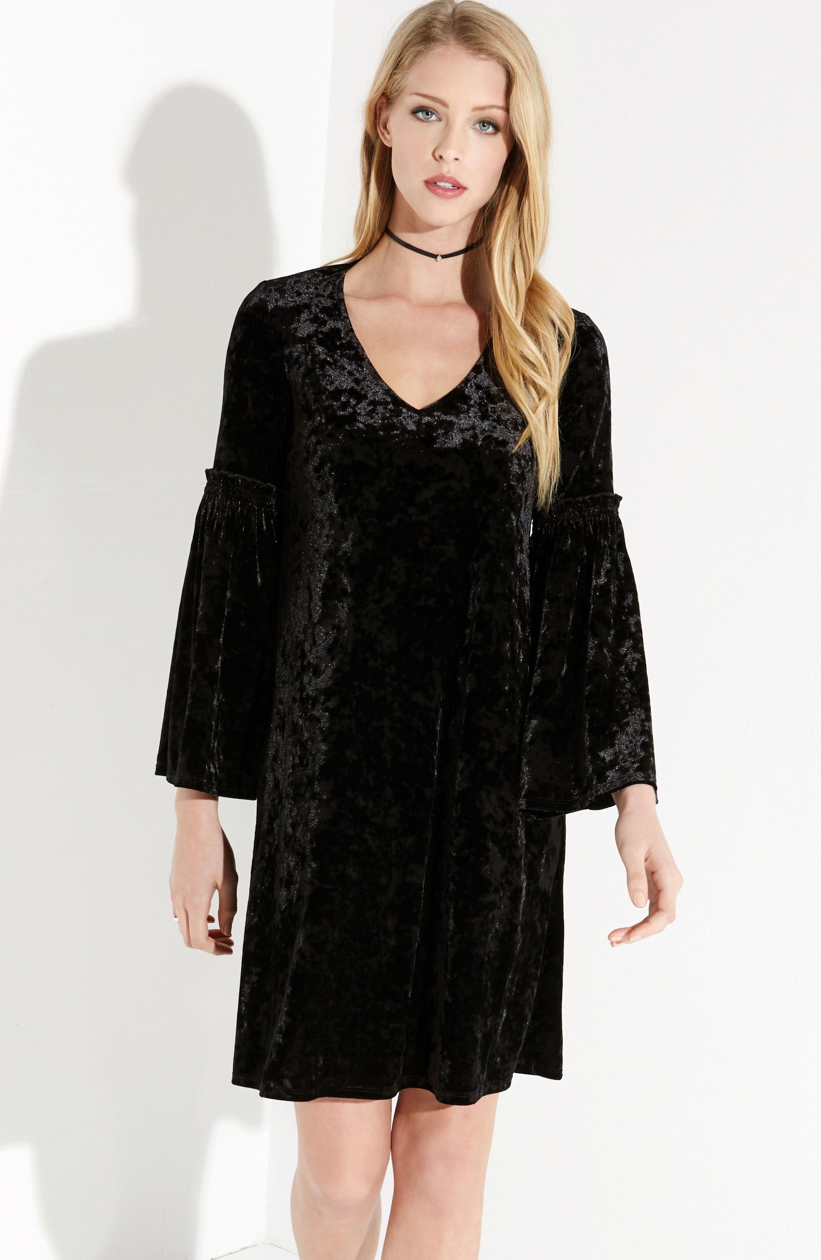 Bell Sleeve Velvet Shift Dress,                             Alternate thumbnail 2, color,                             Black