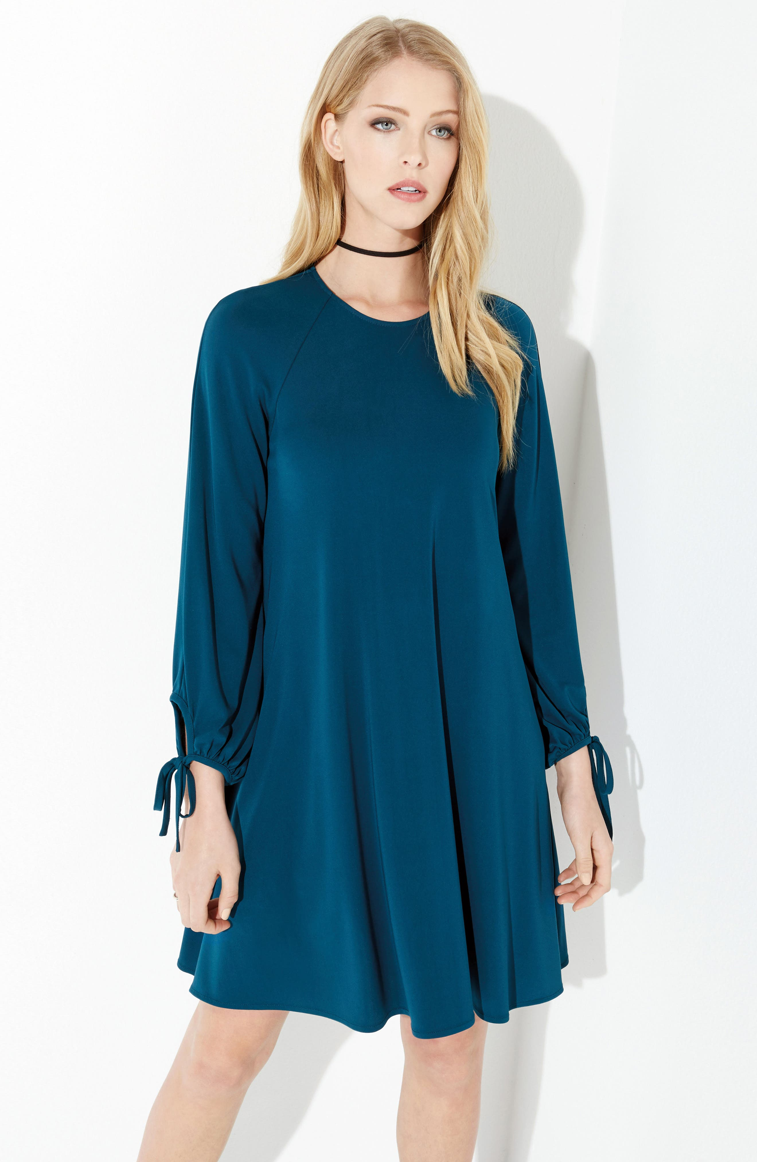Tie Sleeve Shift Dress,                             Alternate thumbnail 2, color,                             Teal
