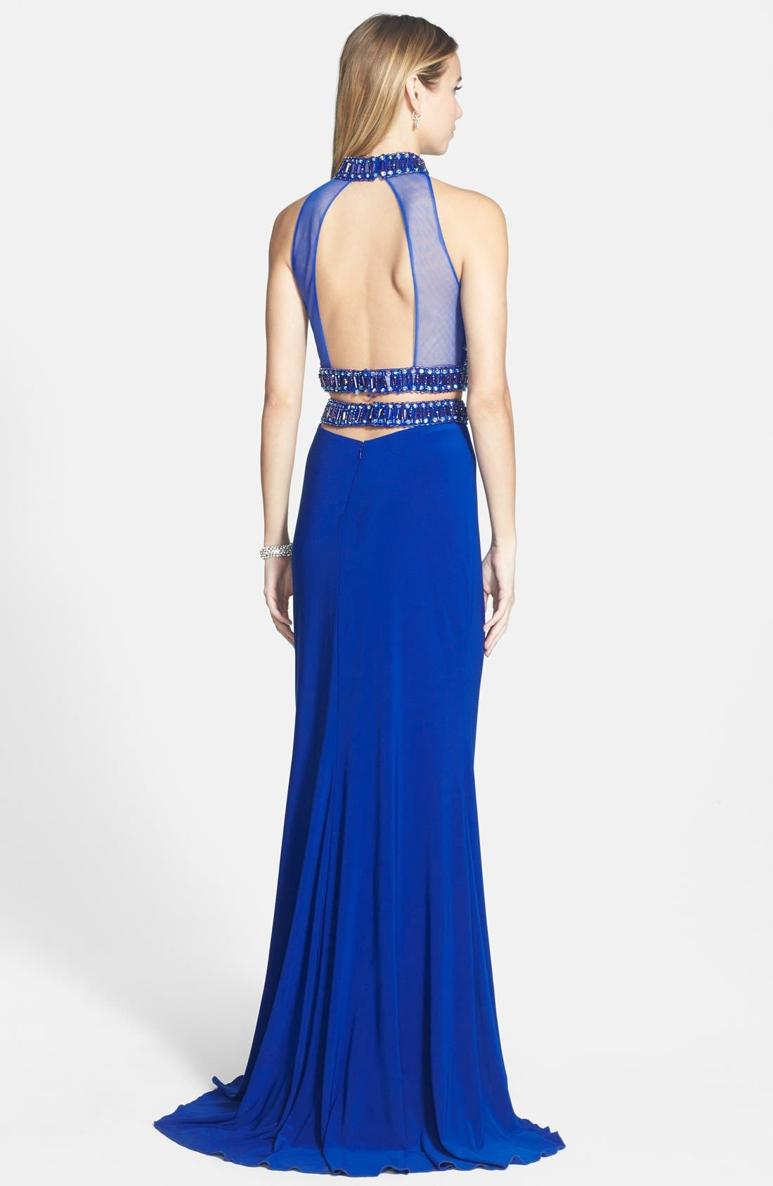 Embellished Two-Piece Jersey Gown,                             Alternate thumbnail 2, color,                             Royal