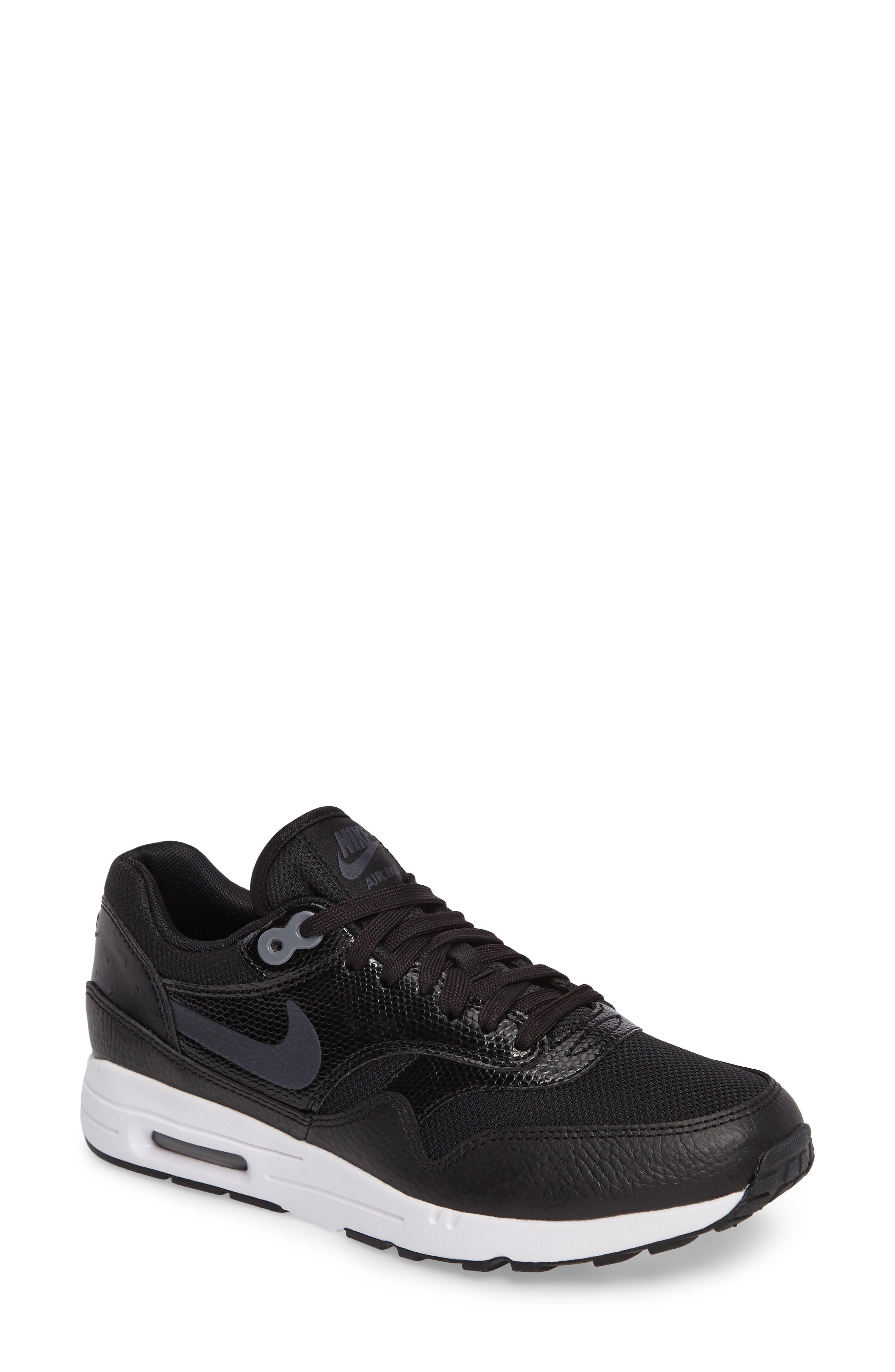 Air Max 1 Ultra 2.0 Running Shoe,                         Main,                         color, Hematite/ Black/ White