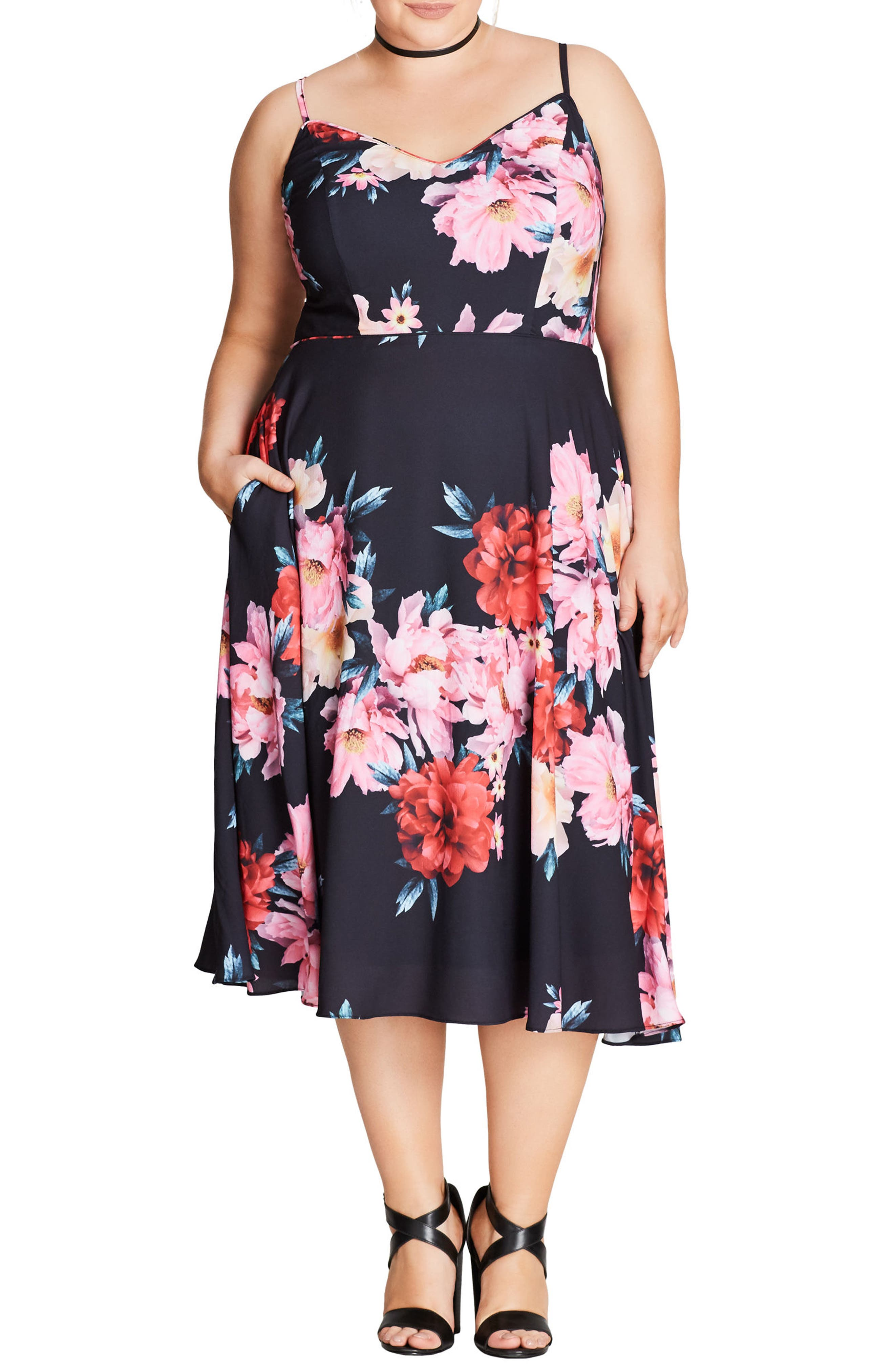 Summer Fling Floral Print Midi Dress,                         Main,                         color, Pink Posey