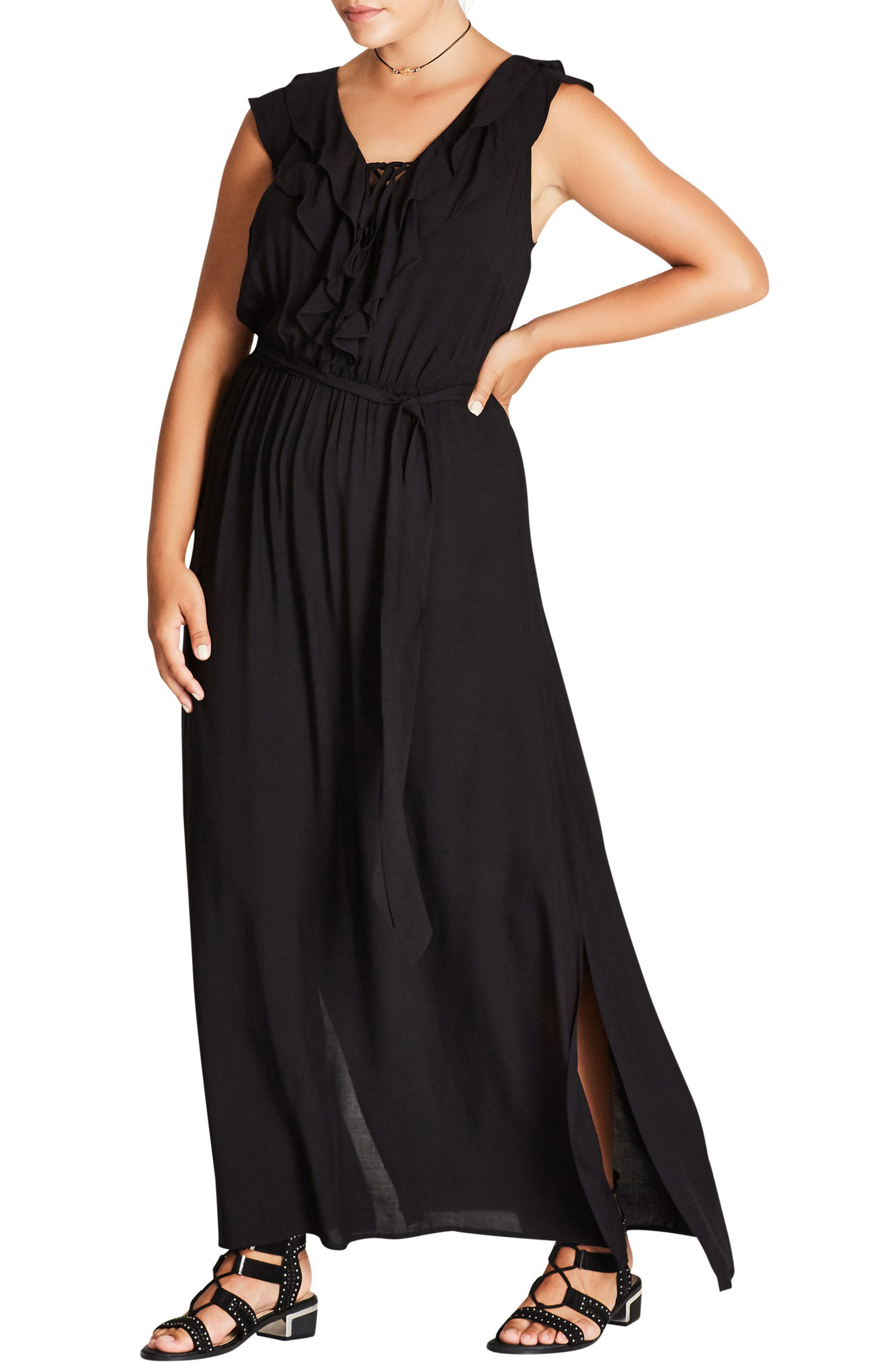 Sweet Ruffle Maxi Dress,                         Main,                         color, Black