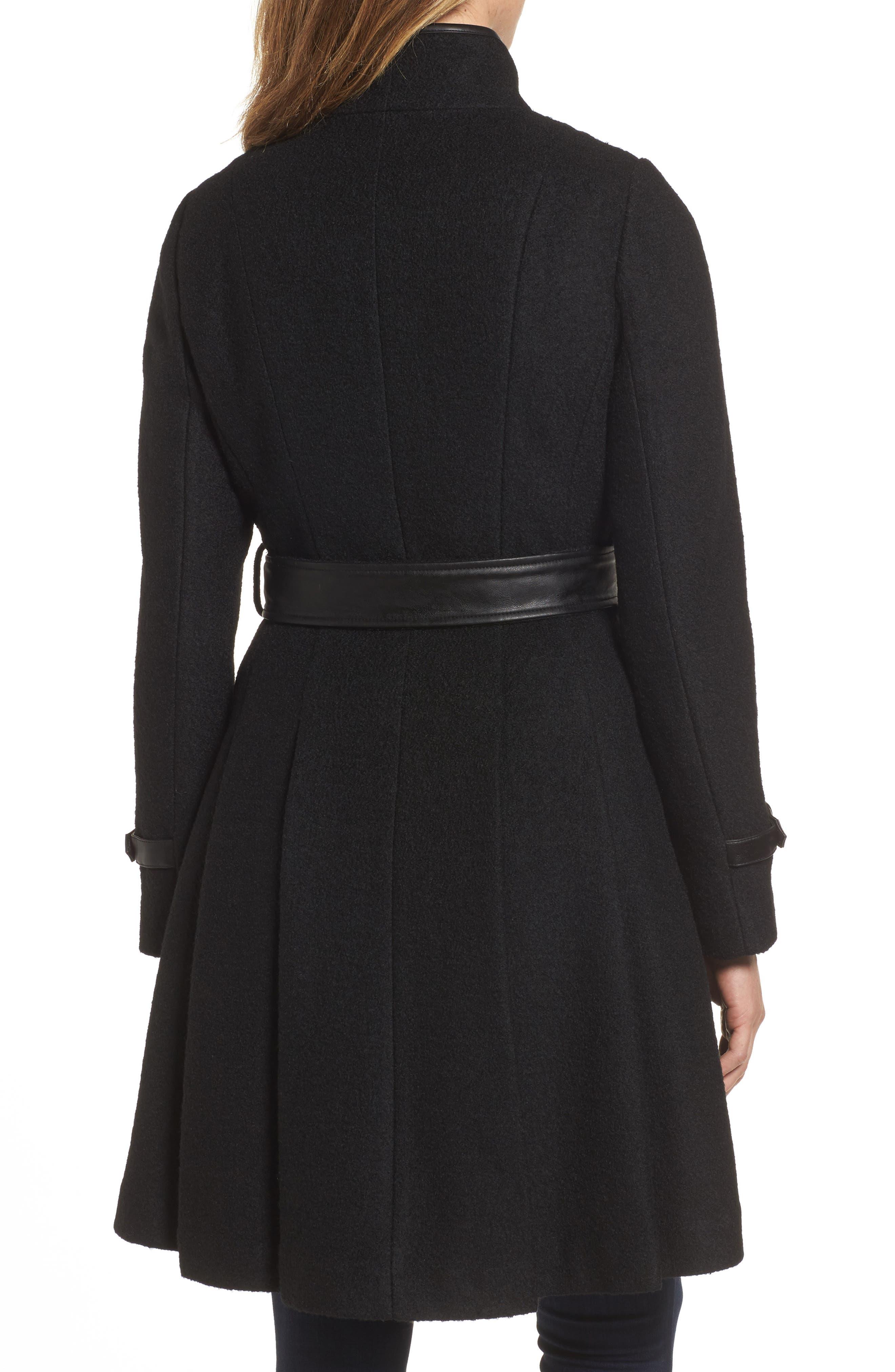 Belted Boiled Wool Blend Coat,                             Alternate thumbnail 2, color,                             Black
