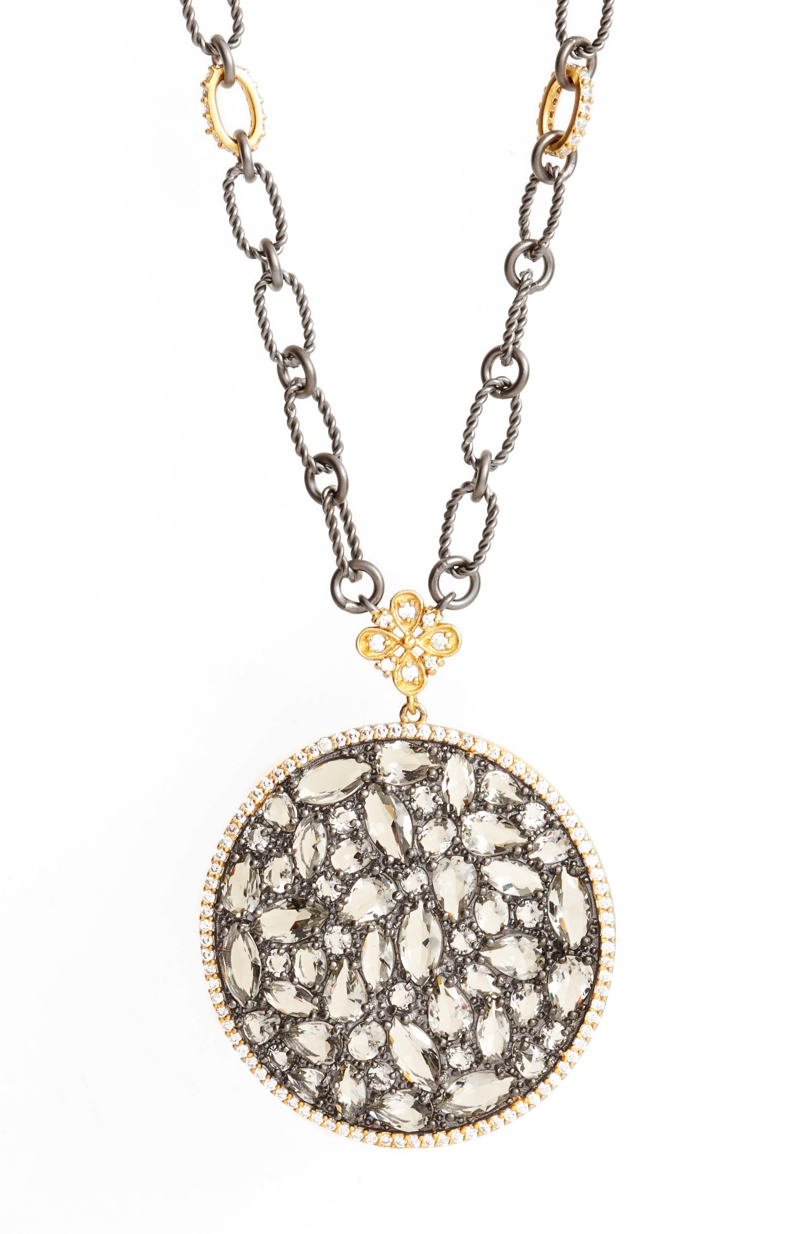 Pebble Pendant Necklace,                             Alternate thumbnail 2, color,                             Gold/ Black Rhodium