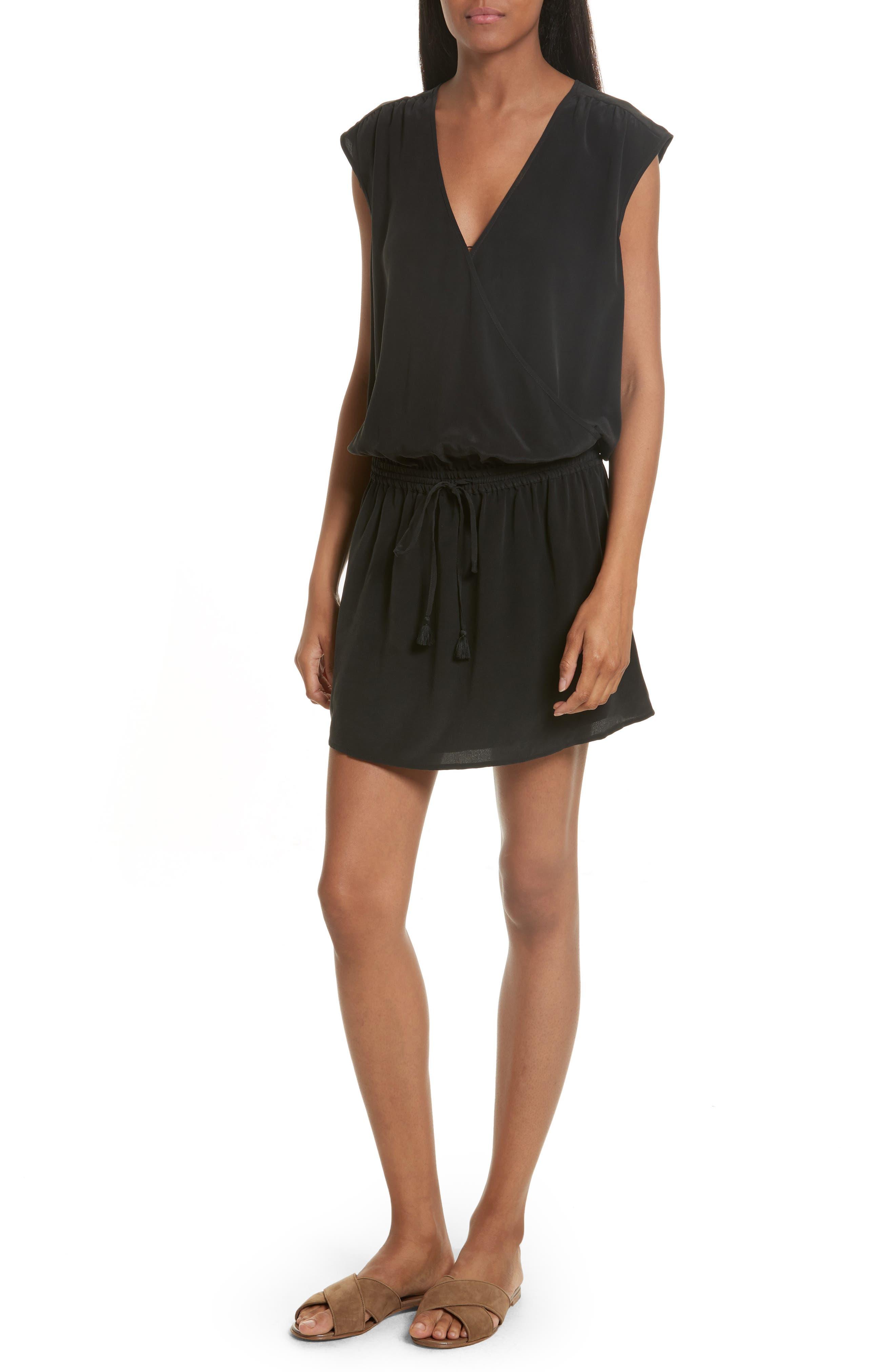 Joie Aniya Surplice Silk Minidress