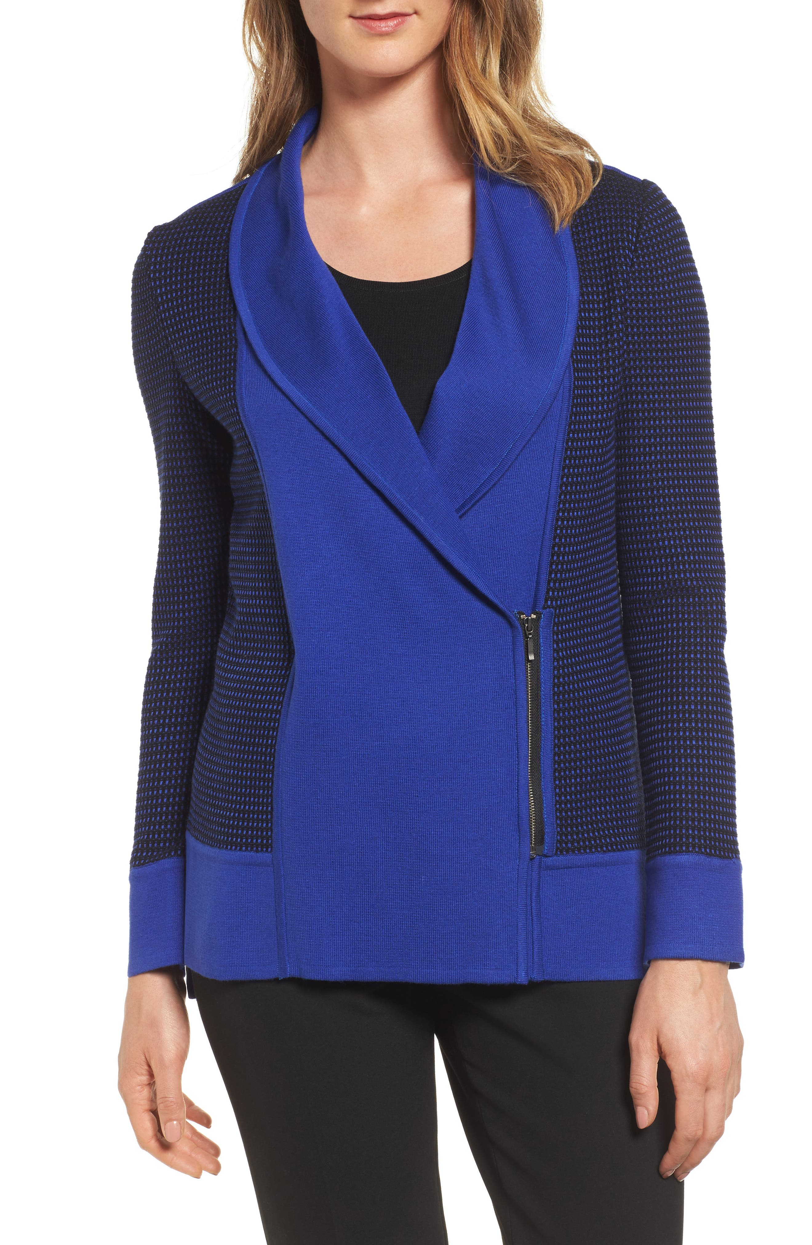Asymetrical Zip Cardigan,                         Main,                         color, Blue Flame/ Black