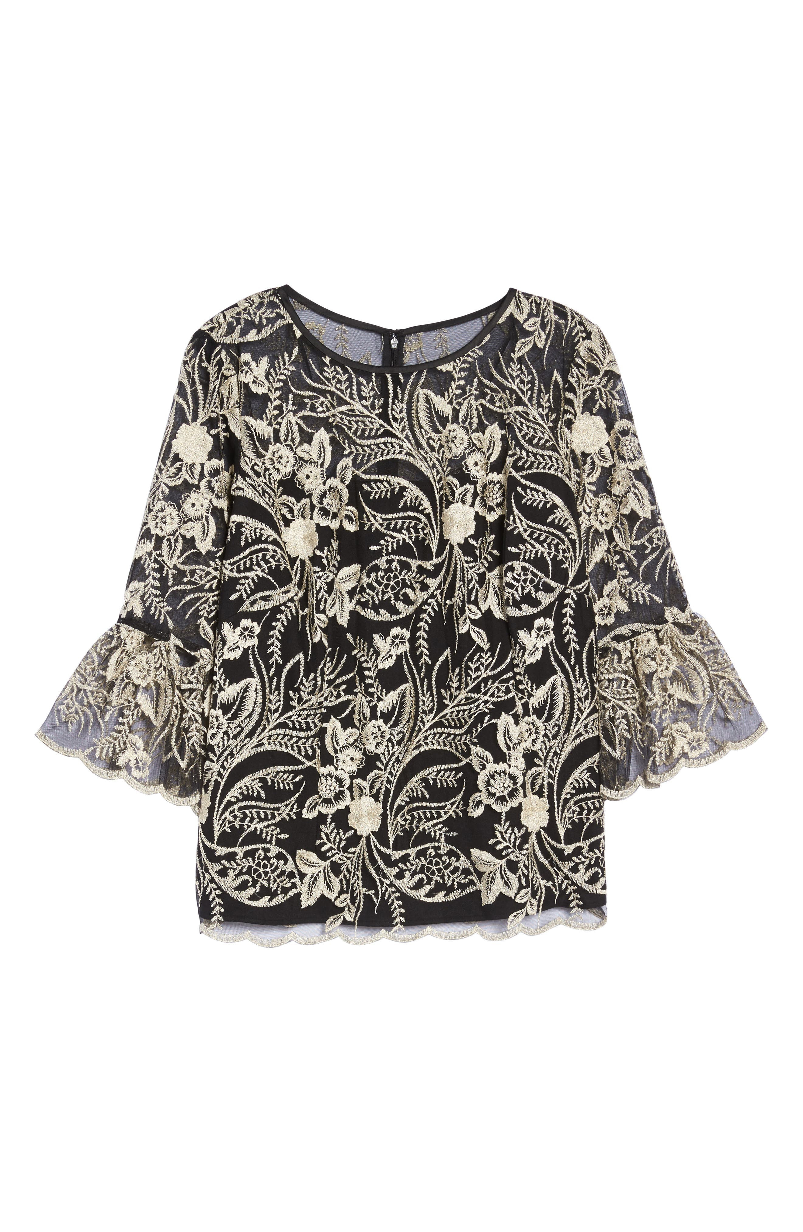Embroidered Bell Sleeve Blouse,                             Alternate thumbnail 6, color,                             Black/ Champagne