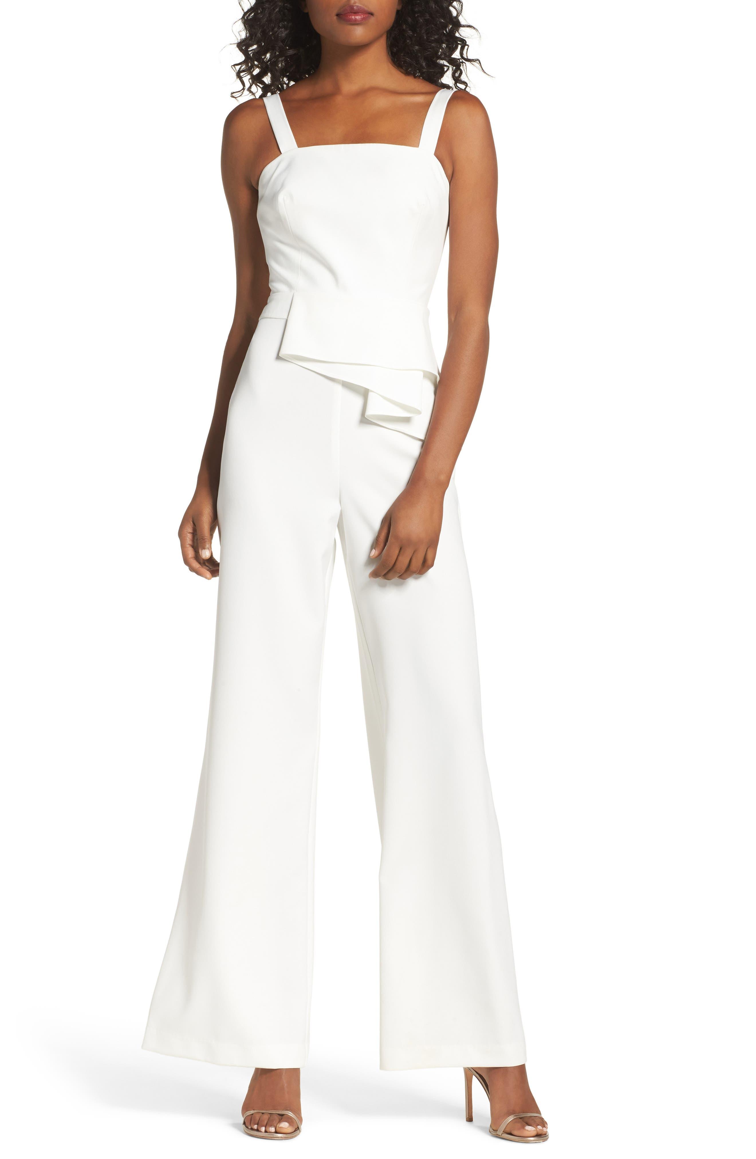 Violet Drape Waist Jumpsuit,                         Main,                         color, White