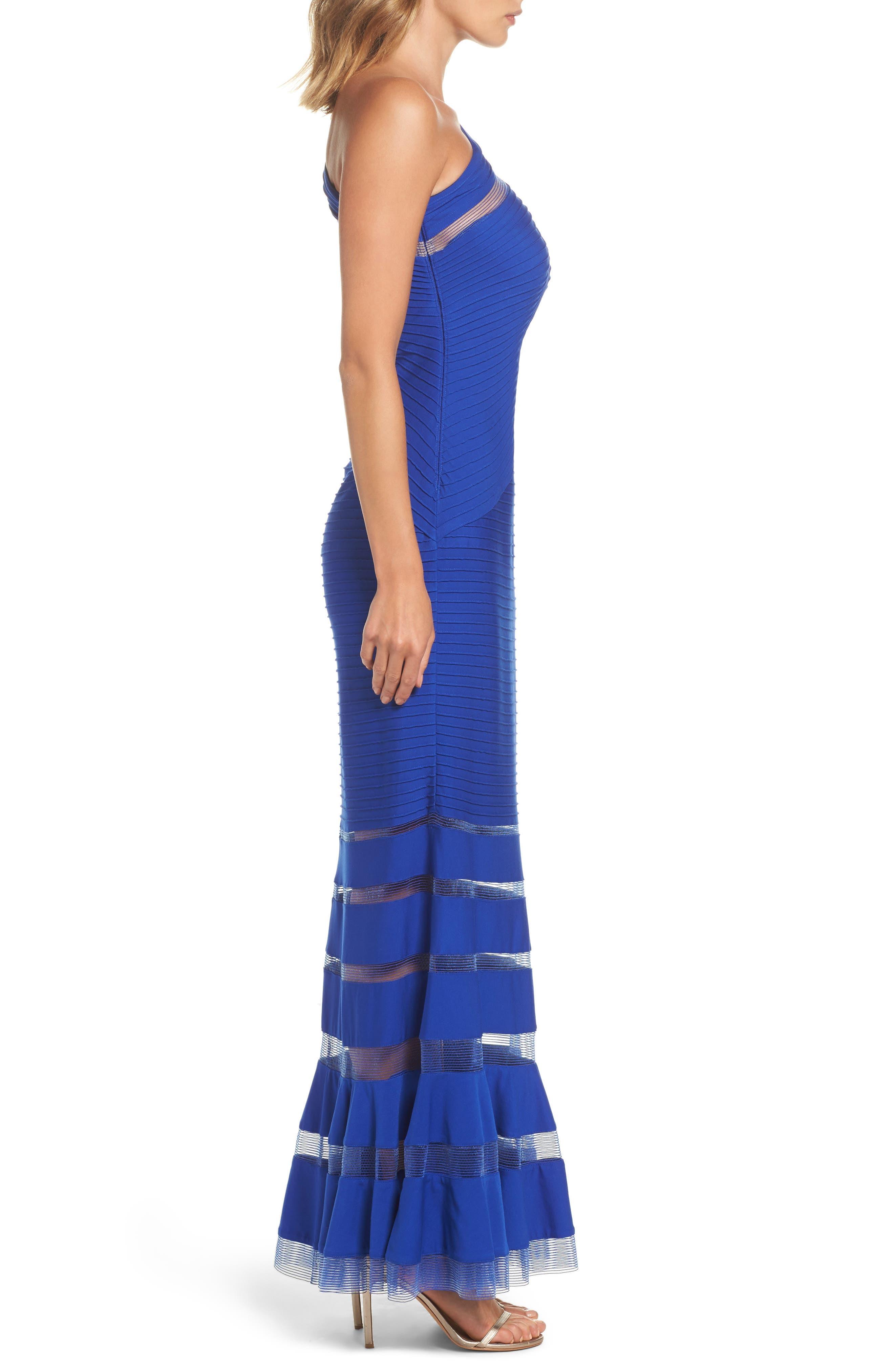 One Shoulder Illusion Gown,                             Alternate thumbnail 3, color,                             Mystic Blue