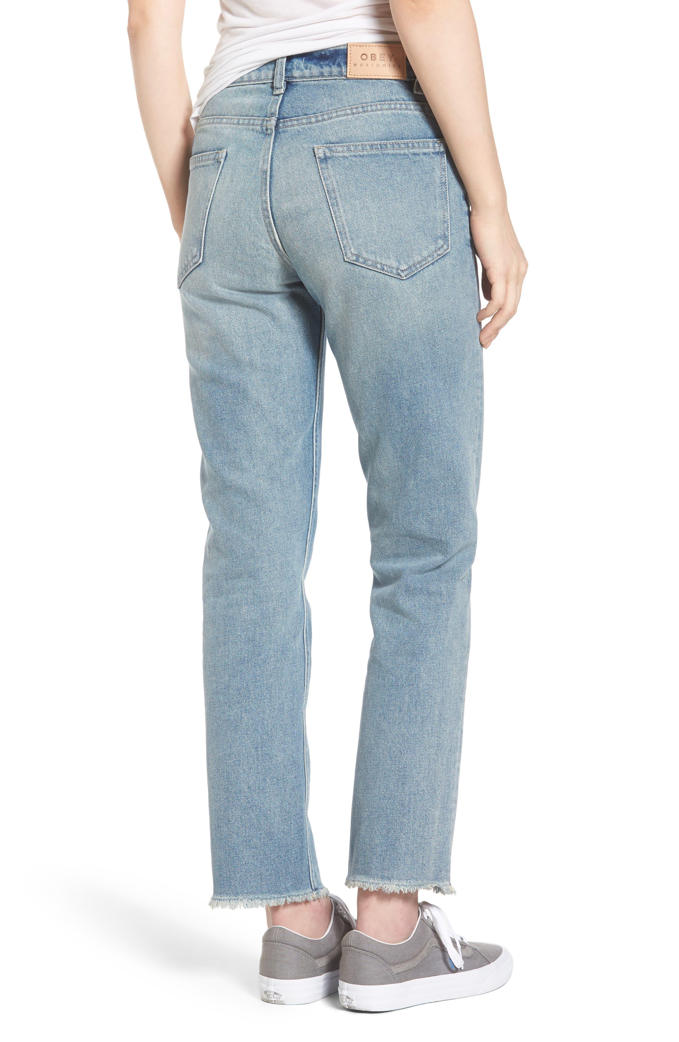 Sundays Straggler High Waist Jeans,                             Alternate thumbnail 2, color,                             Bleached Indigo