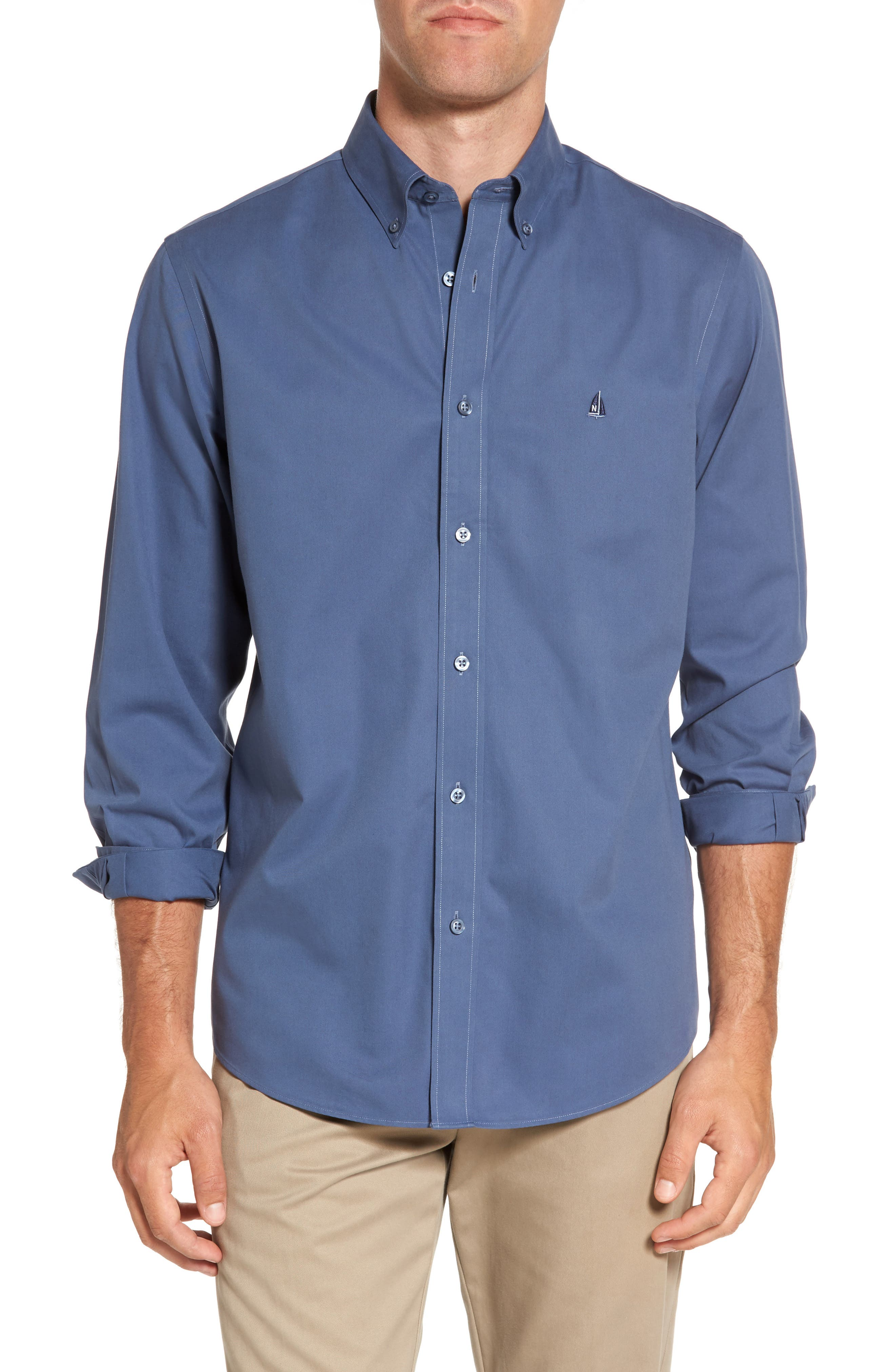 Main Image - Nordstrom Men's Shop Smartcare™ Traditional Fit Twill Boat Shirt (Regular & Tall)