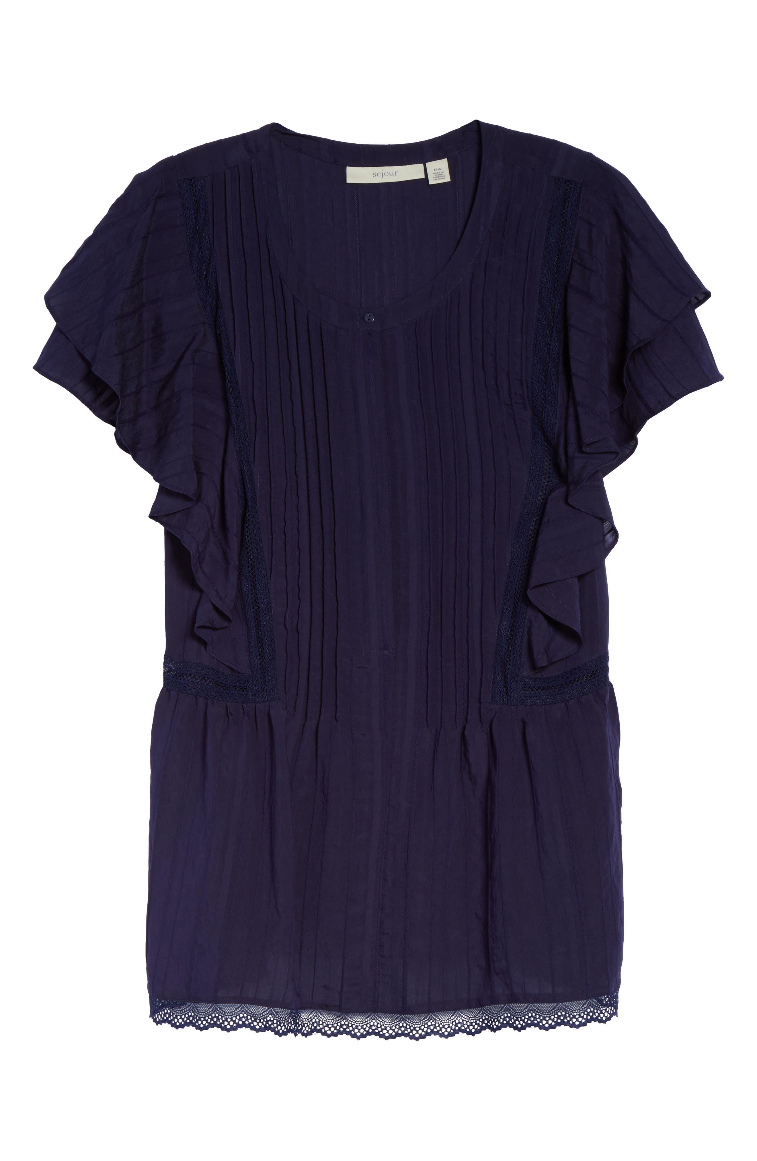 Alternate Image 6  - Sejour Lace Trim Pintuck Pleated Top (Plus Size)
