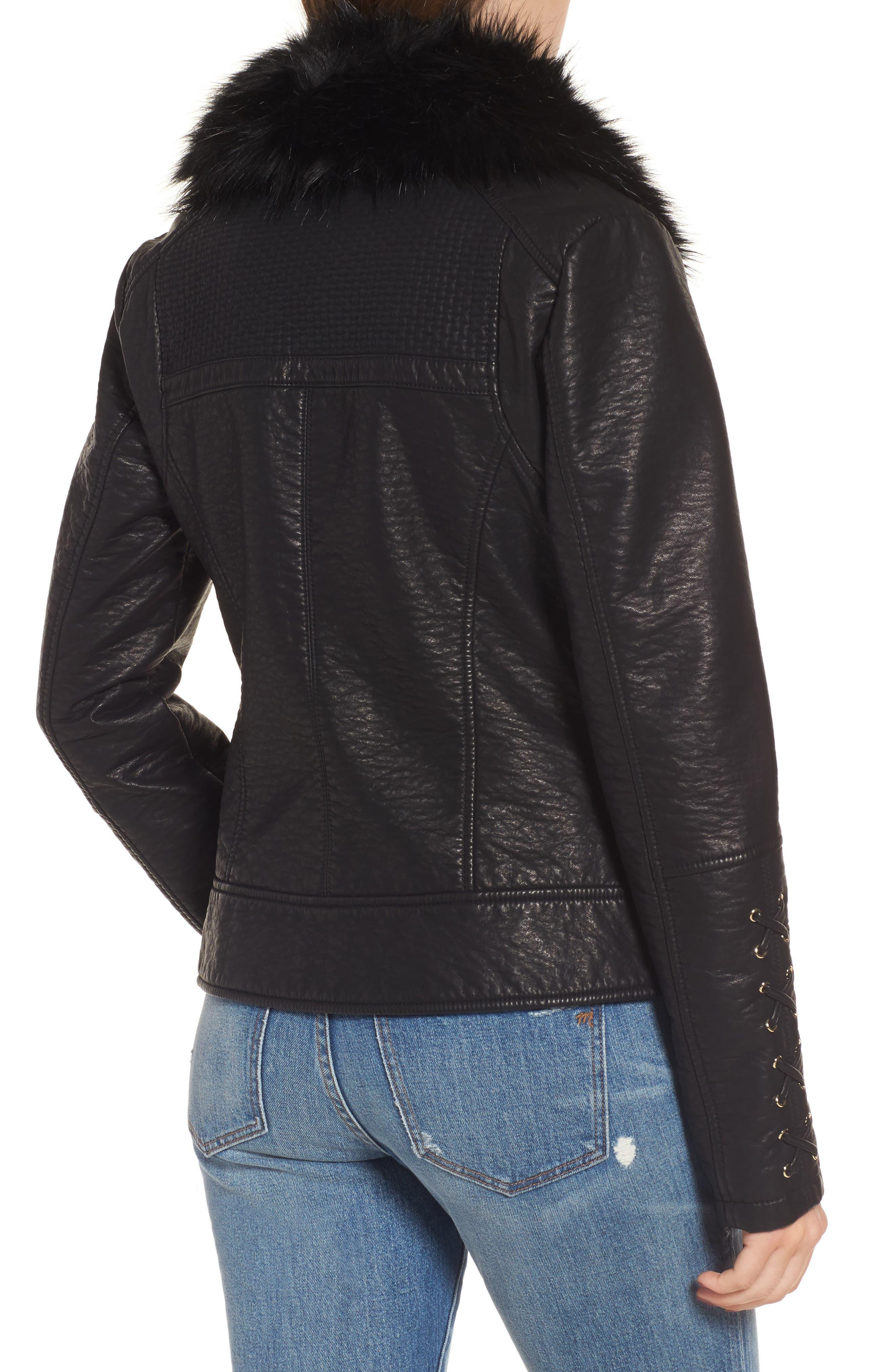 Alternate Image 2  - GUESS Faux Fur Collar Jacket