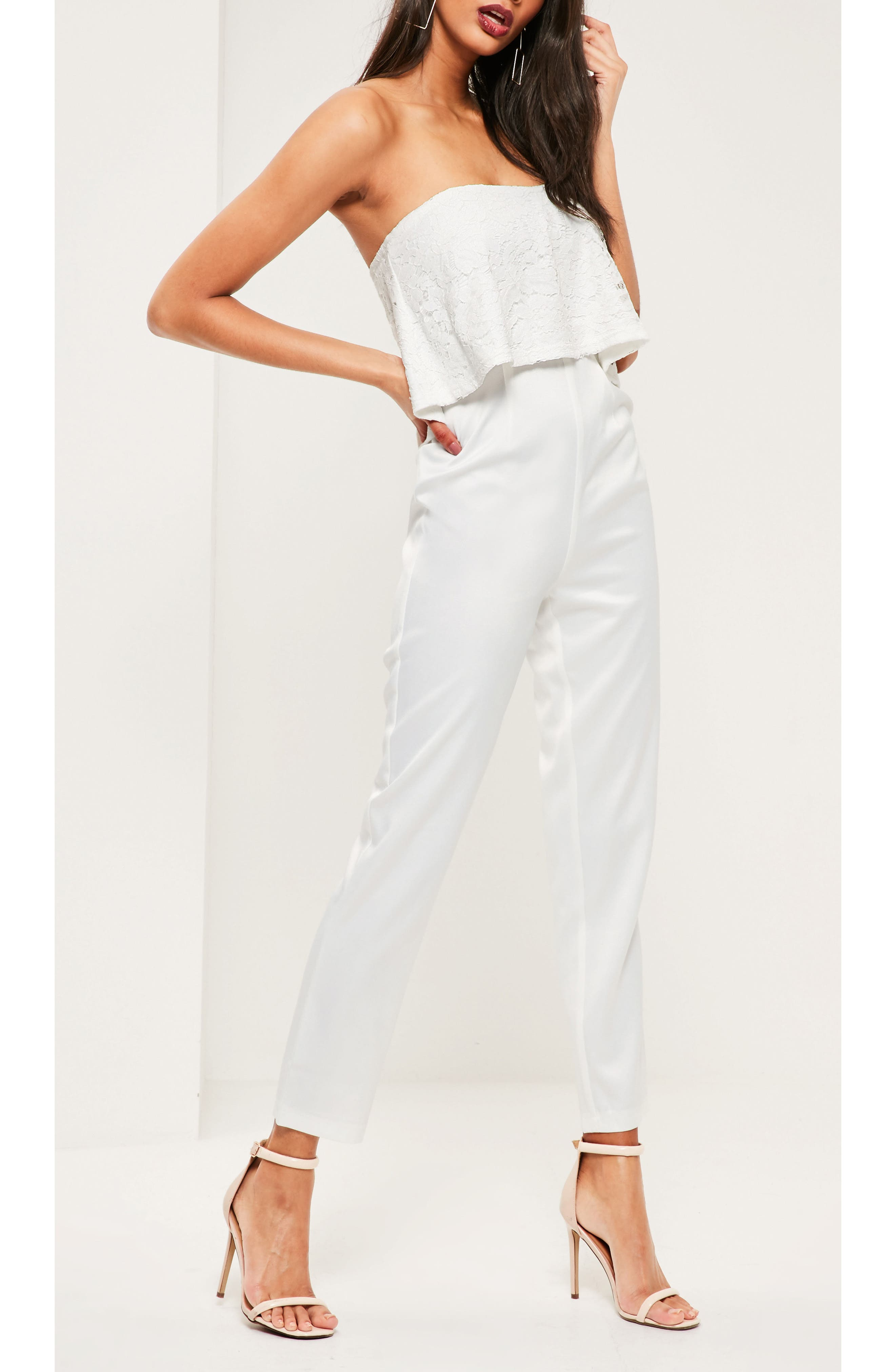 Lace Ruffle Strapless Jumpsuit,                             Alternate thumbnail 4, color,                             White