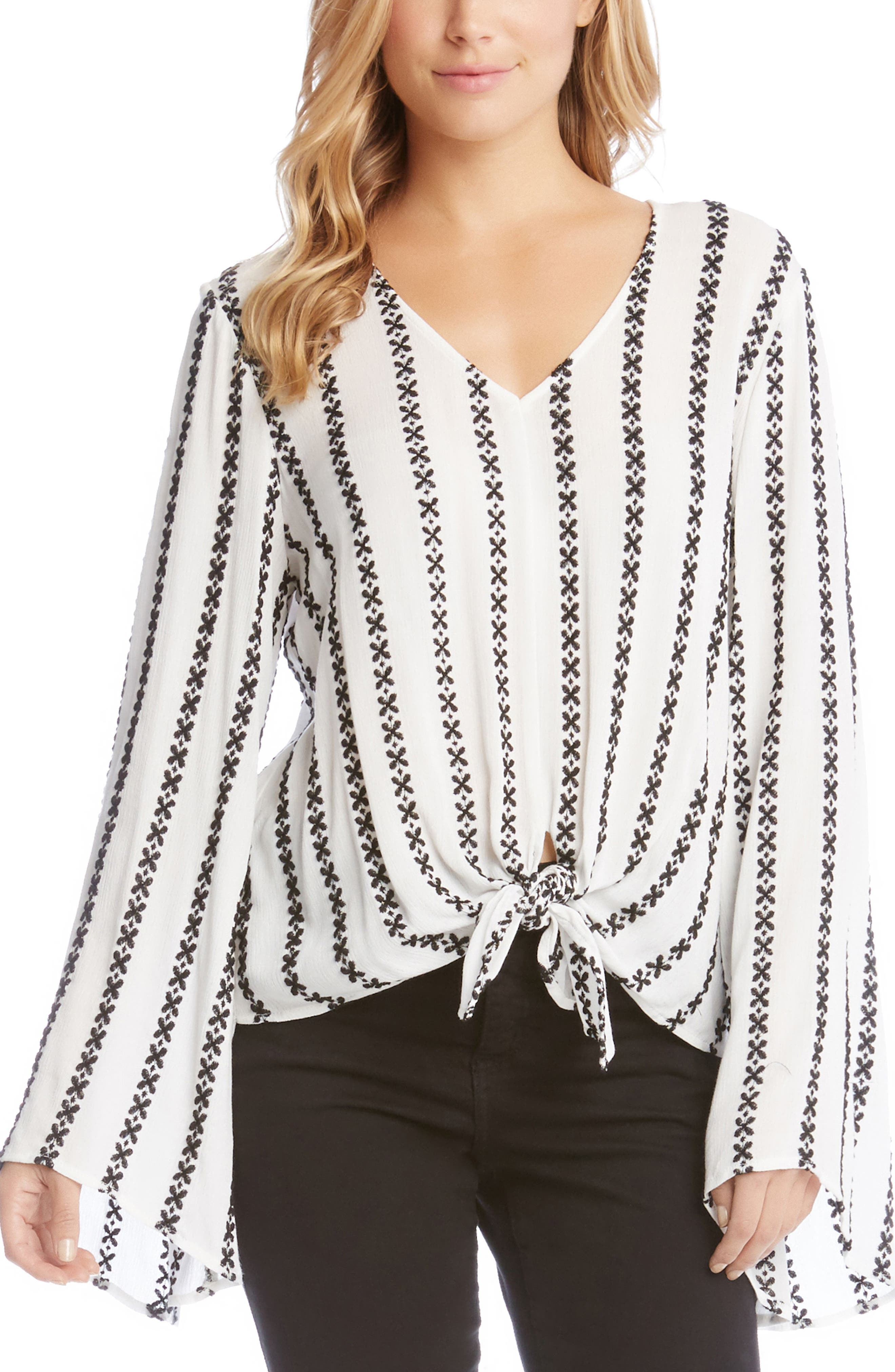 Tie Front Bell Sleeve Top,                         Main,                         color, Off White/ Black