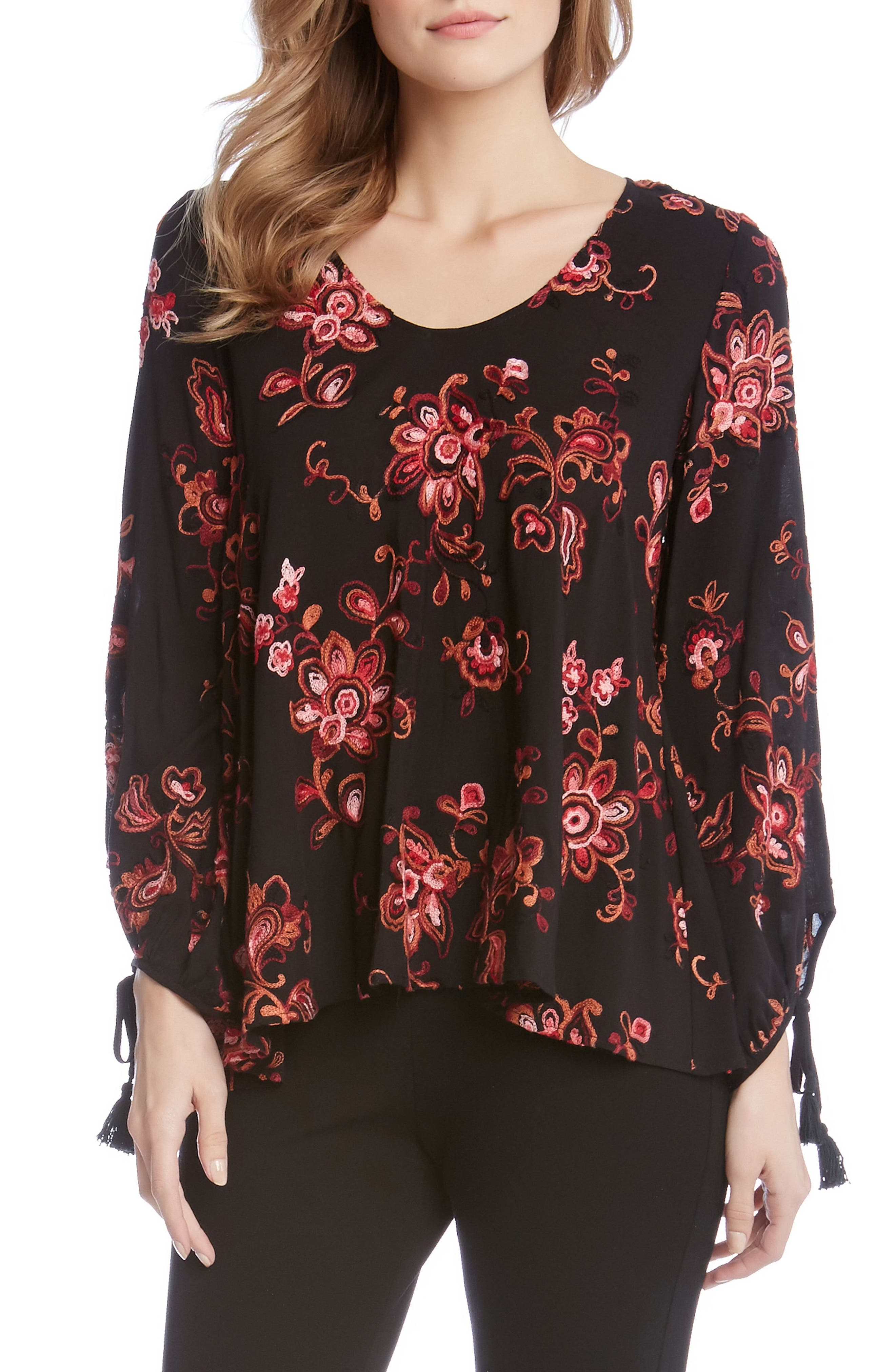 Tassel Sleeve Embroidered Top,                         Main,                         color, Cayenne