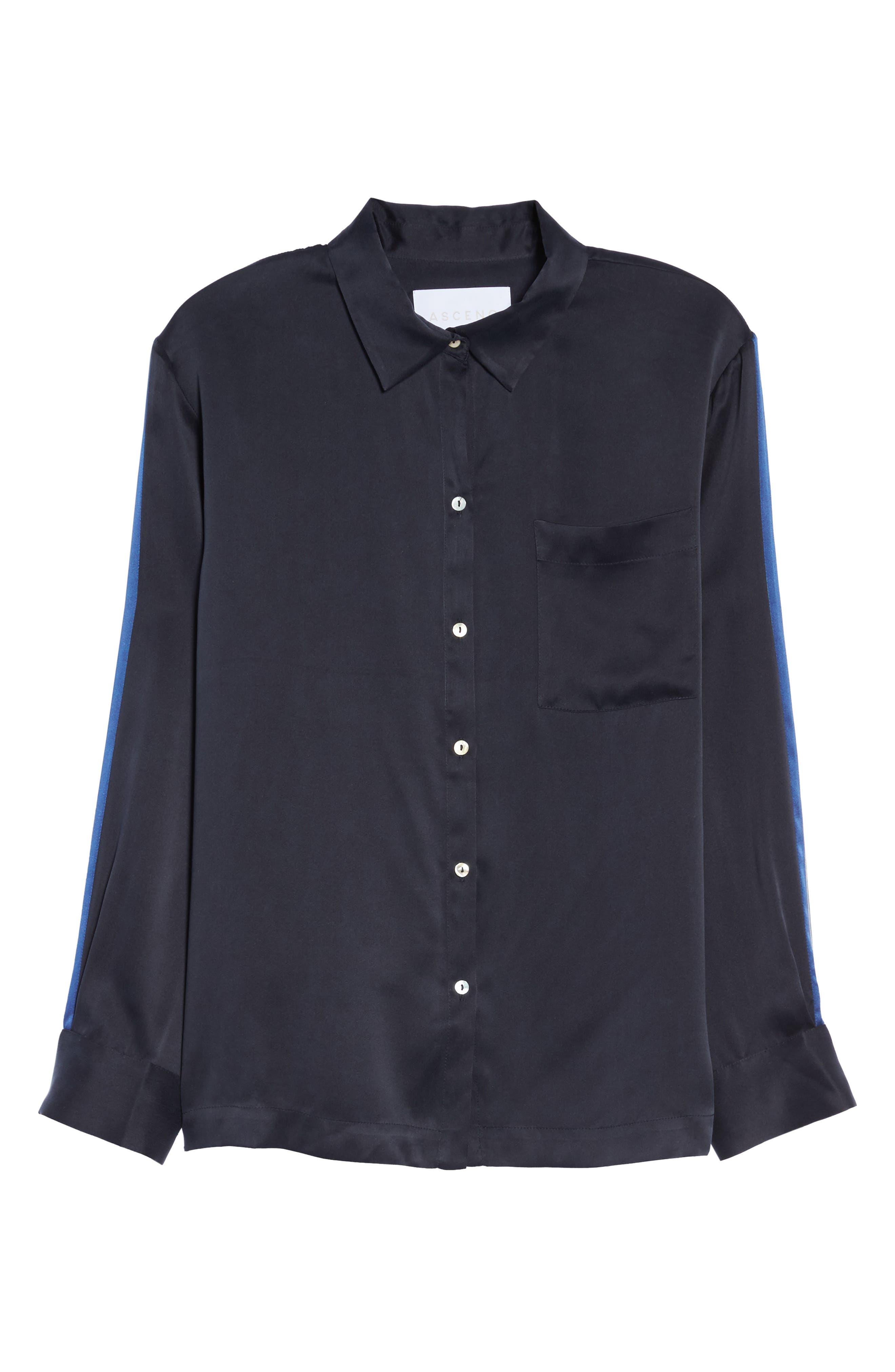 Silk Pajama Top,                             Alternate thumbnail 4, color,                             Midnight Bold Stripe