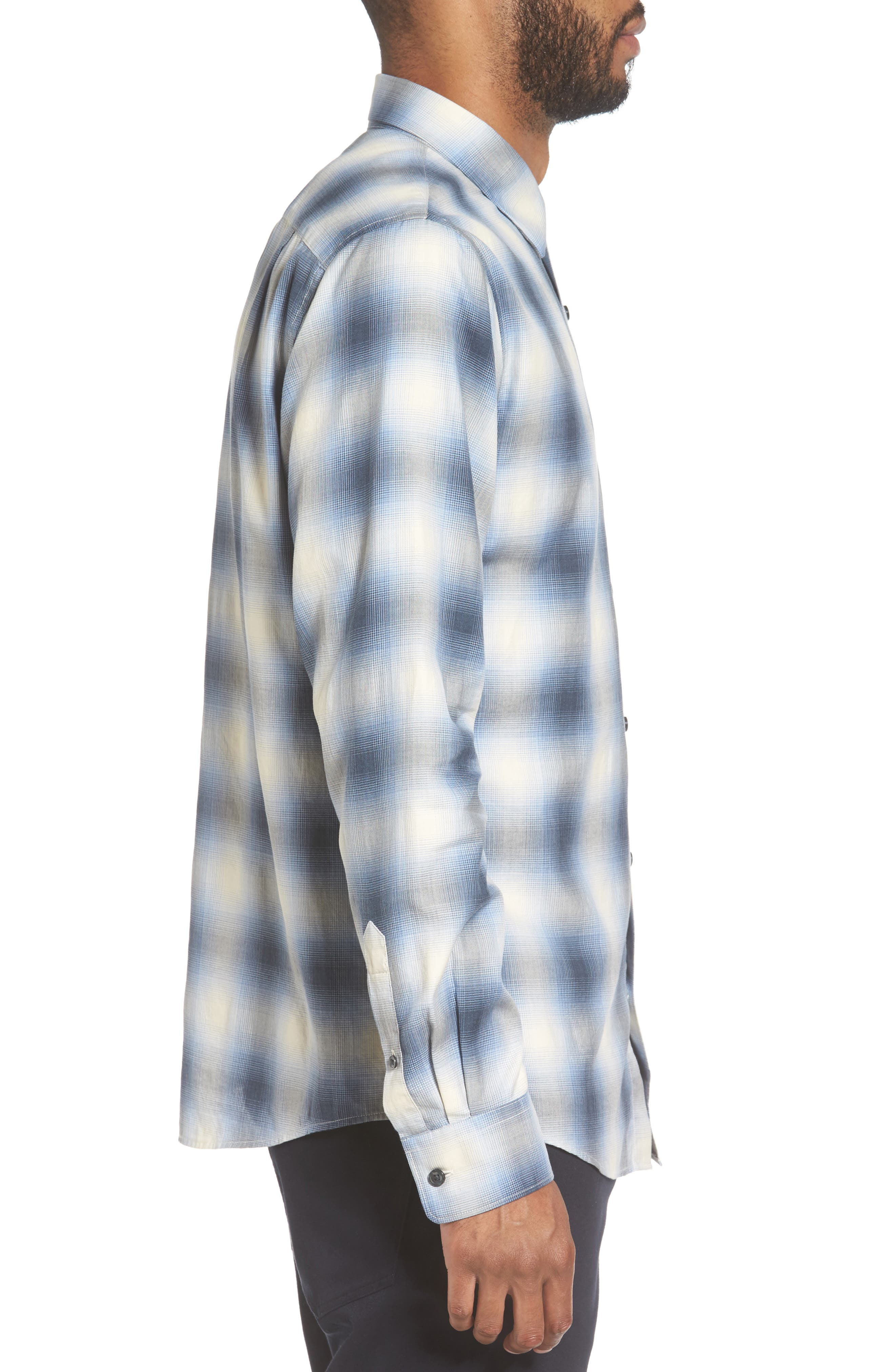 Regular Fit Check Sport Shirt,                             Alternate thumbnail 3, color,                             Light Blue