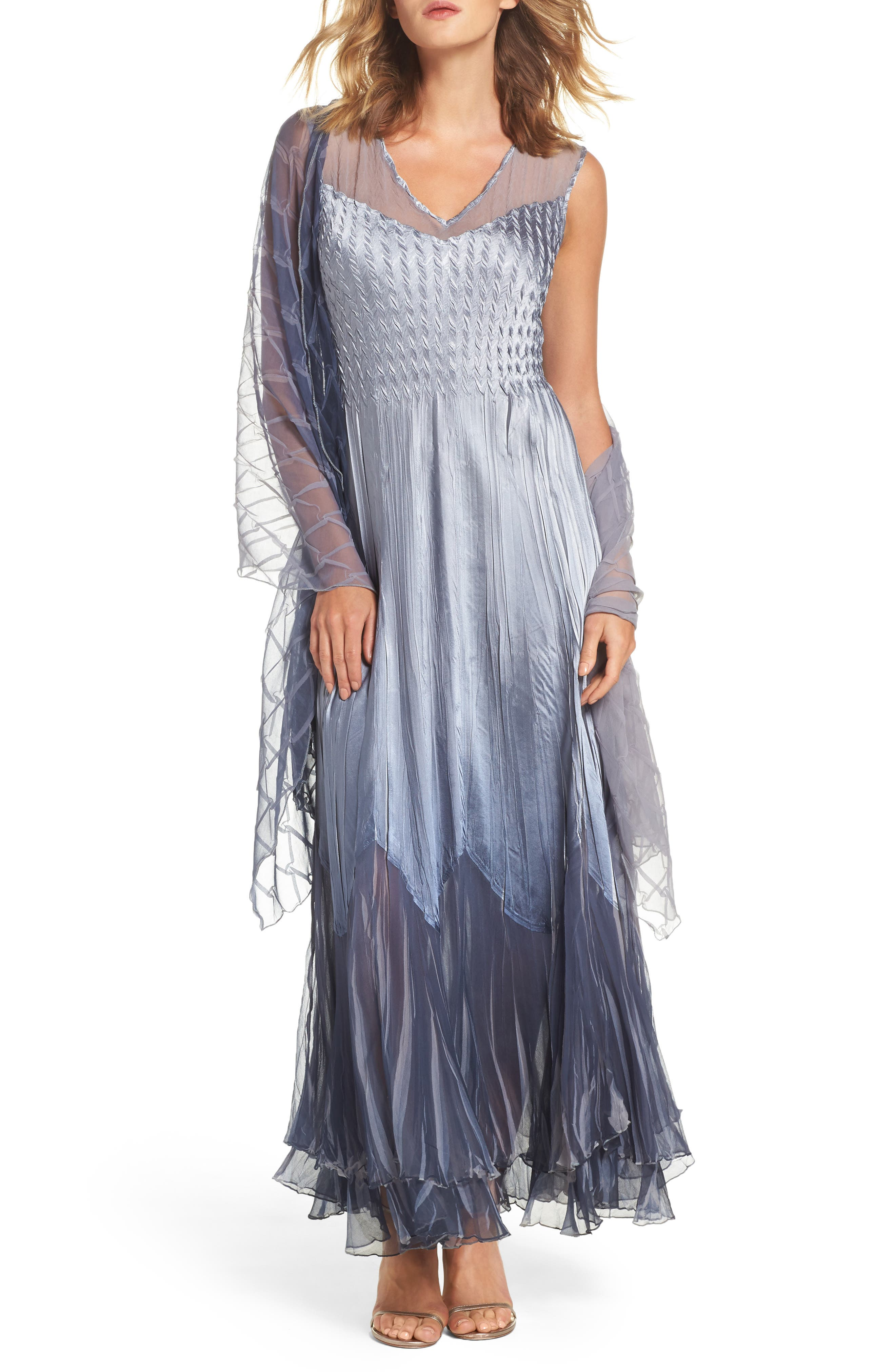 Ombré Tiered A-Line Maxi Dress with Shawl,                         Main,                         color, River Blue Ombre