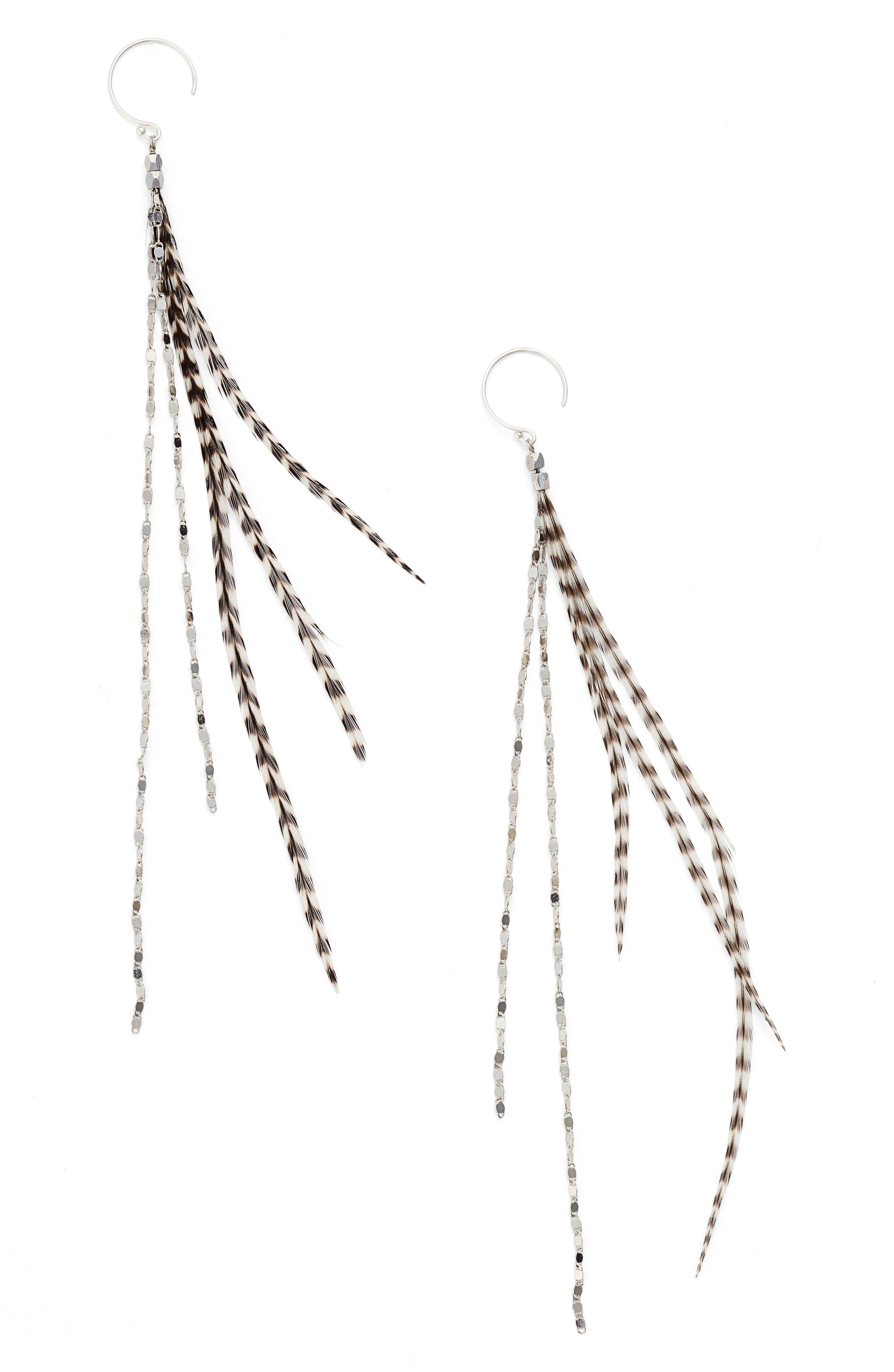 Serefina Glistening Feather Duster Earrings