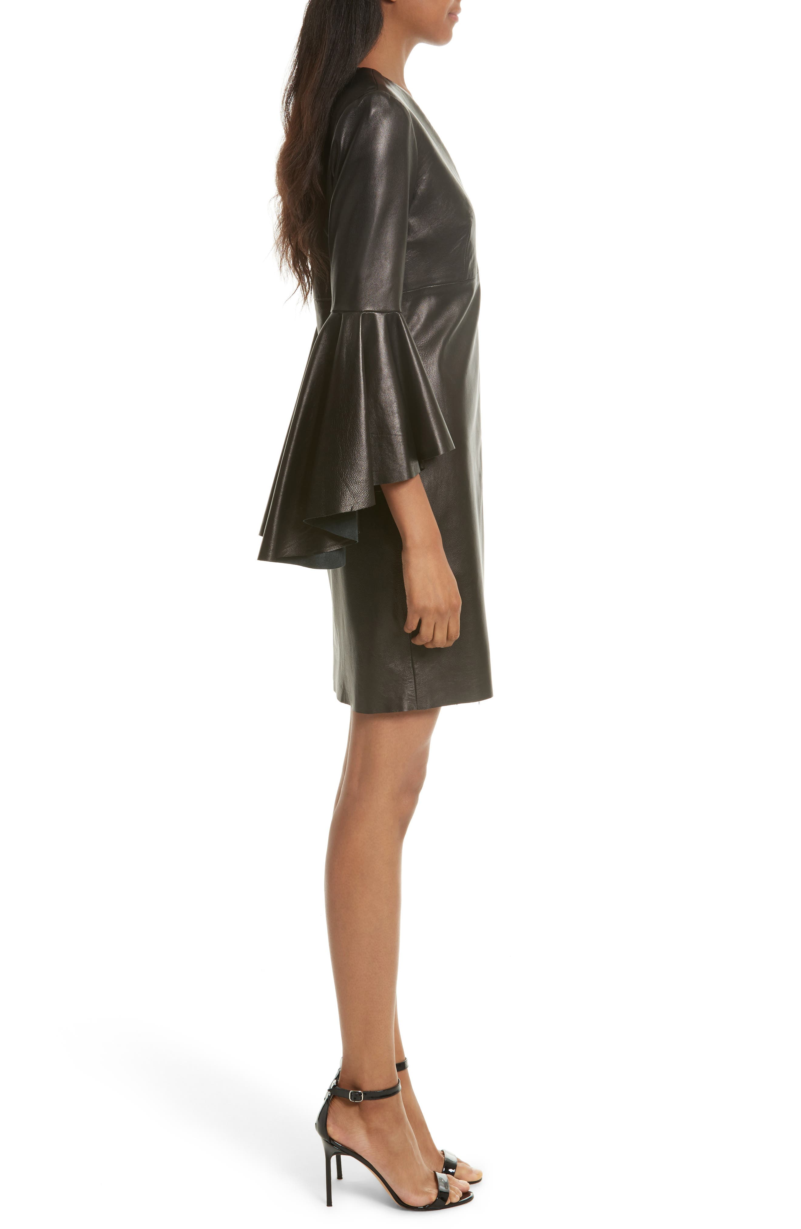 Bell Sleeve Leather Dress,                             Alternate thumbnail 3, color,                             Black