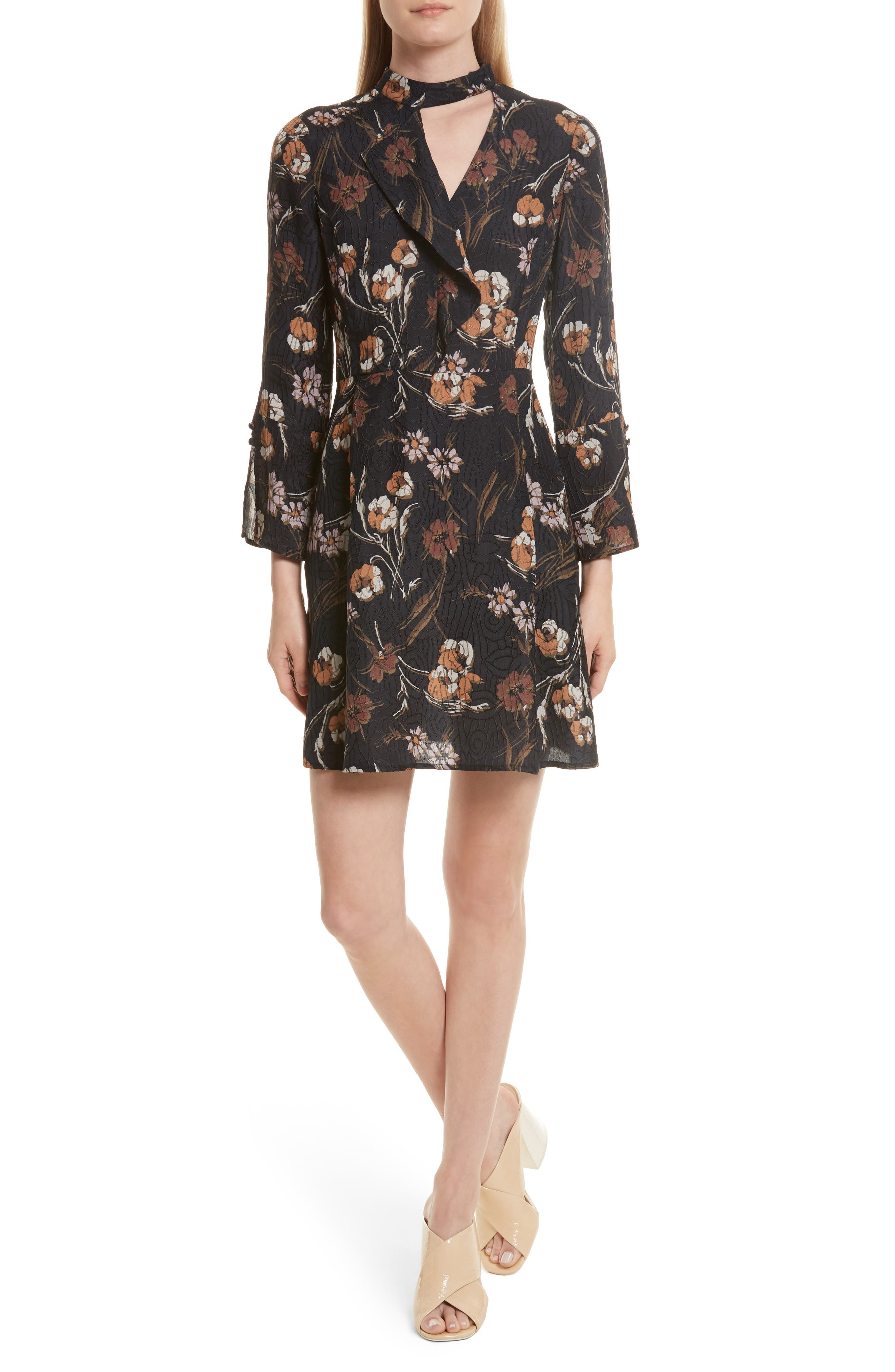 Cascade Floral Silk Blend Dress,                         Main,                         color, Midnight Floral