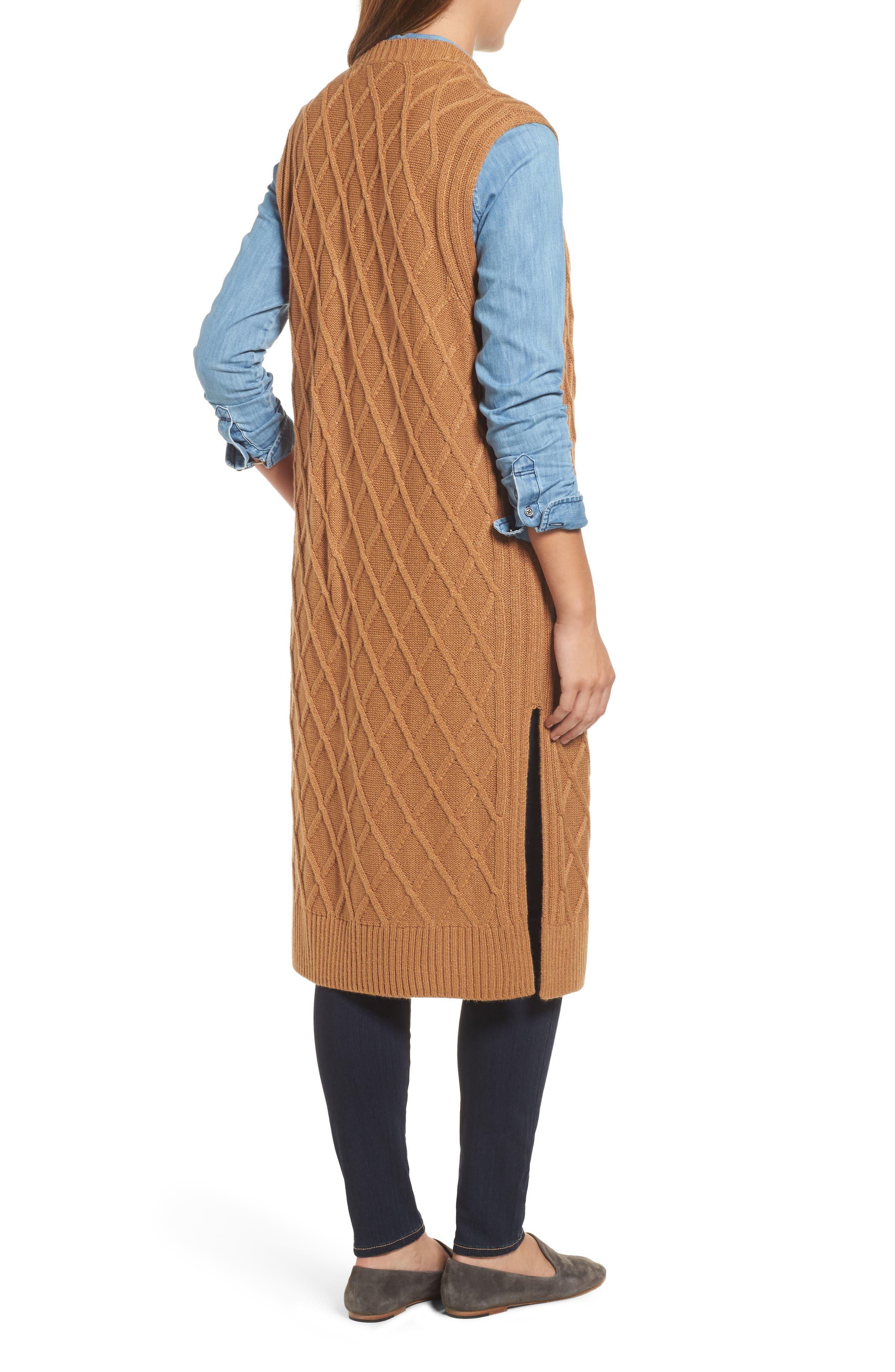 Cable Stitch Long Sweater Vest,                             Alternate thumbnail 2, color,                             Tan Dale