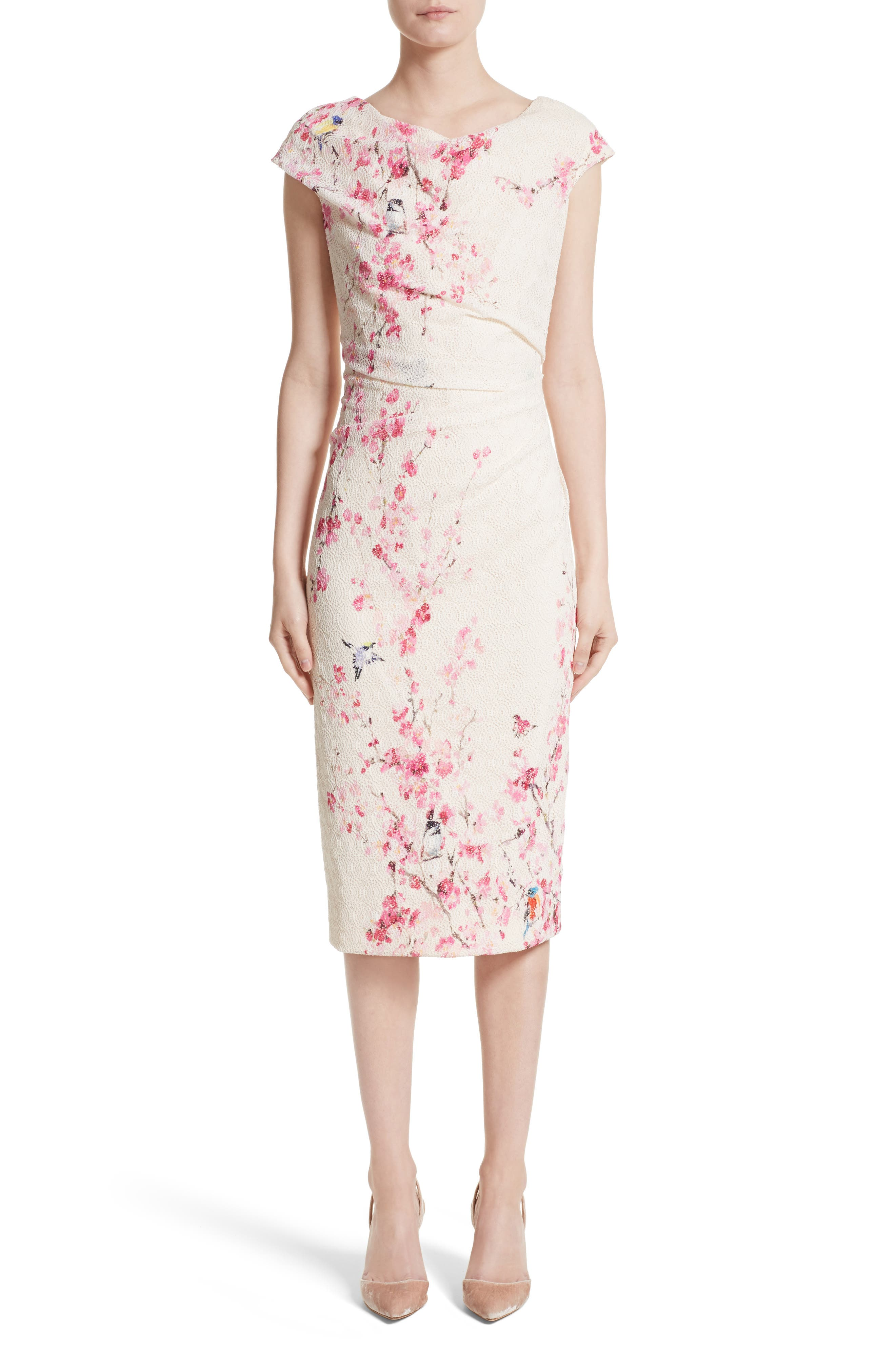 Monique Lhuillier Cherry Blossom Sheath Dress