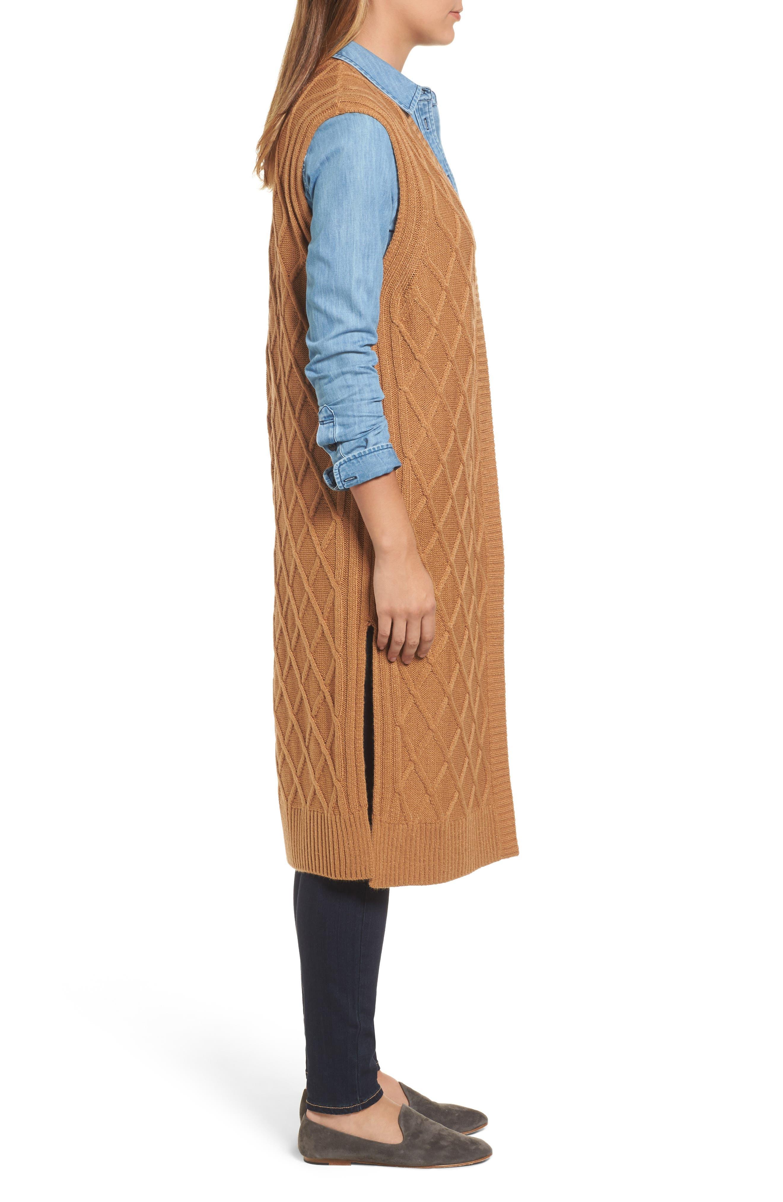 Cable Stitch Long Sweater Vest,                             Alternate thumbnail 3, color,                             Tan Dale