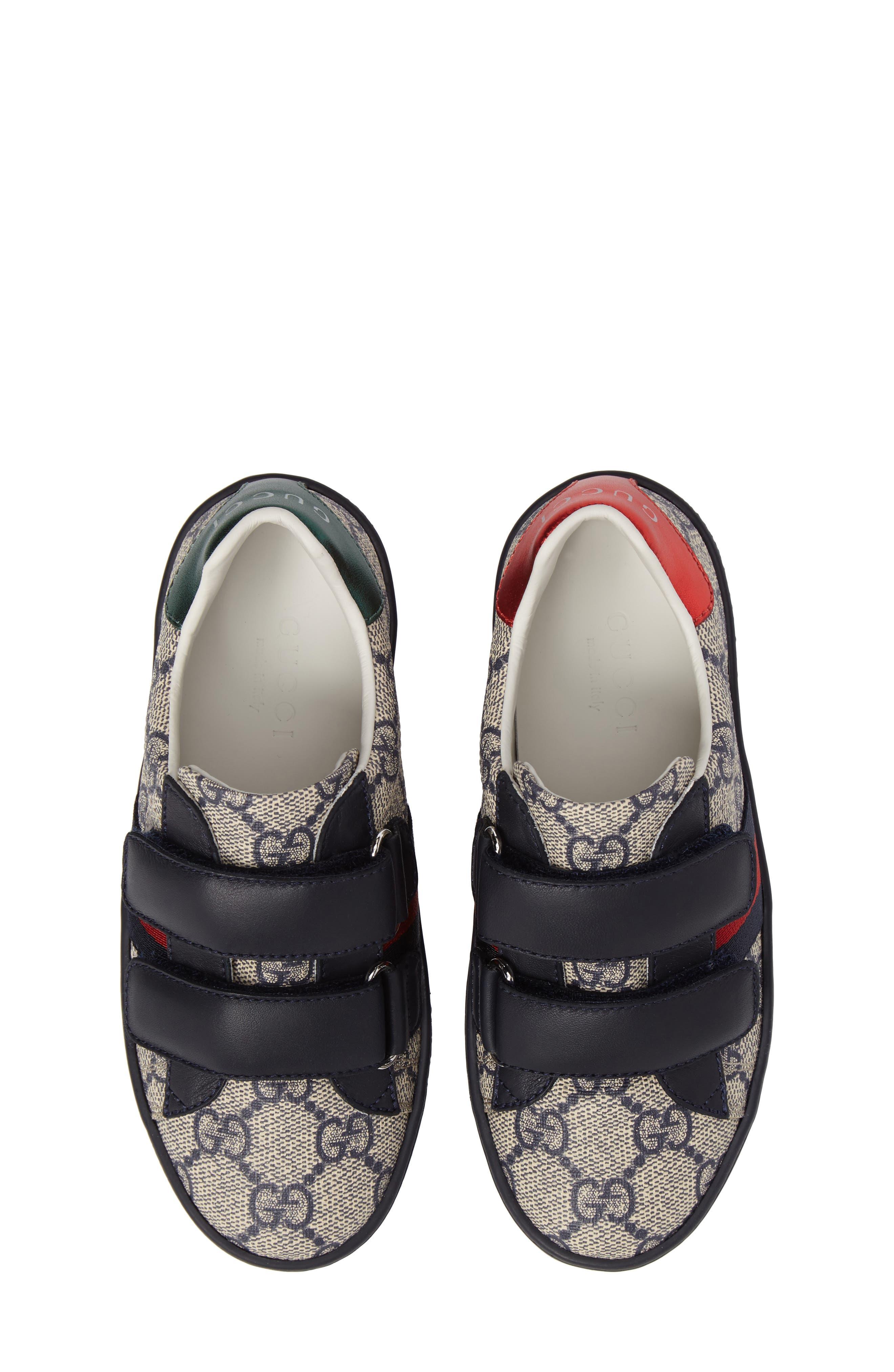 New Ace Monogram Sneaker,                             Main thumbnail 1, color,                             Beige/ Blue