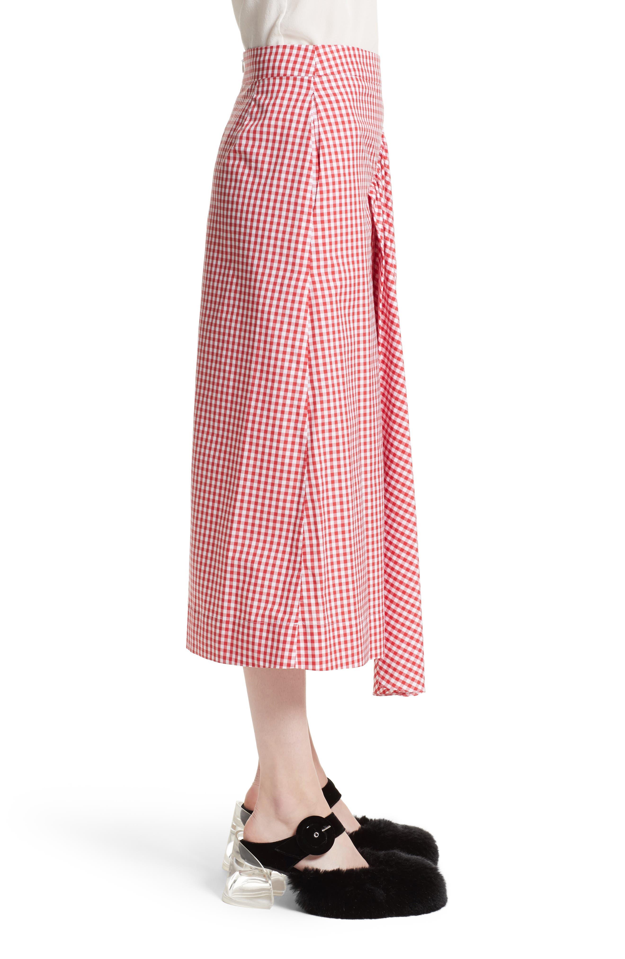 Three-Panel Gingham Midi Skirt,                             Alternate thumbnail 4, color,                             Red/ White