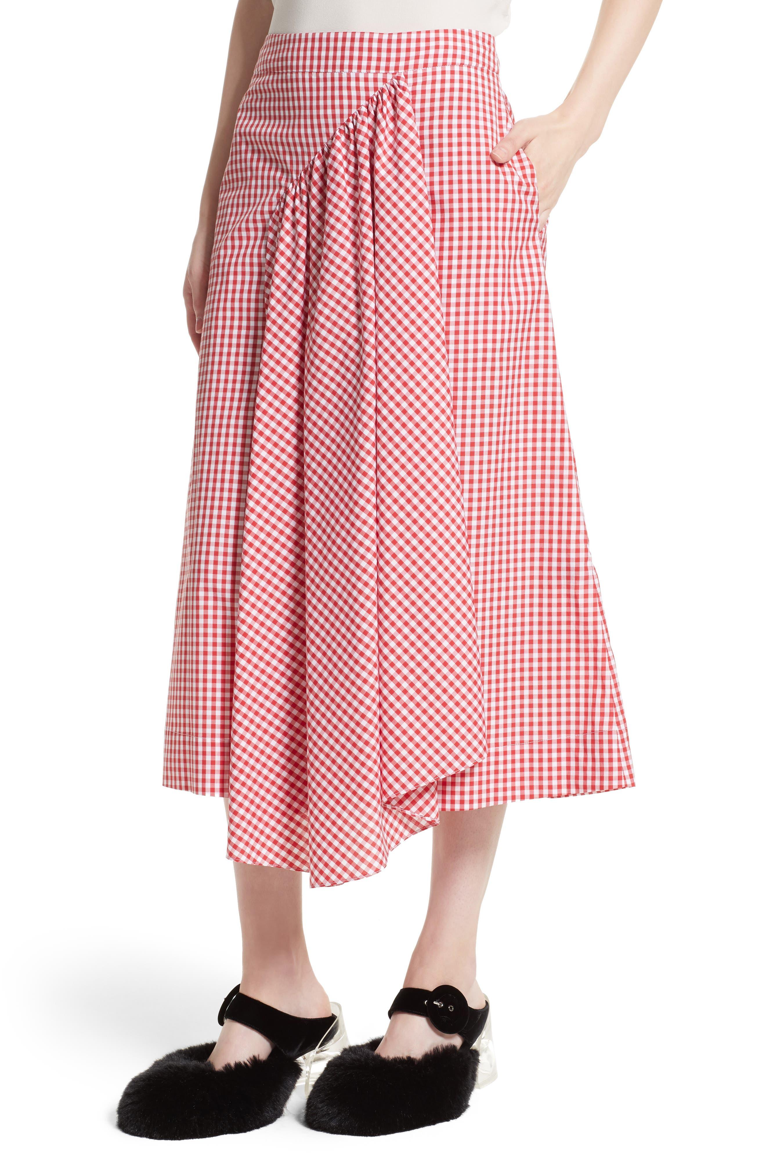 Three-Panel Gingham Midi Skirt,                             Alternate thumbnail 6, color,                             Red/ White