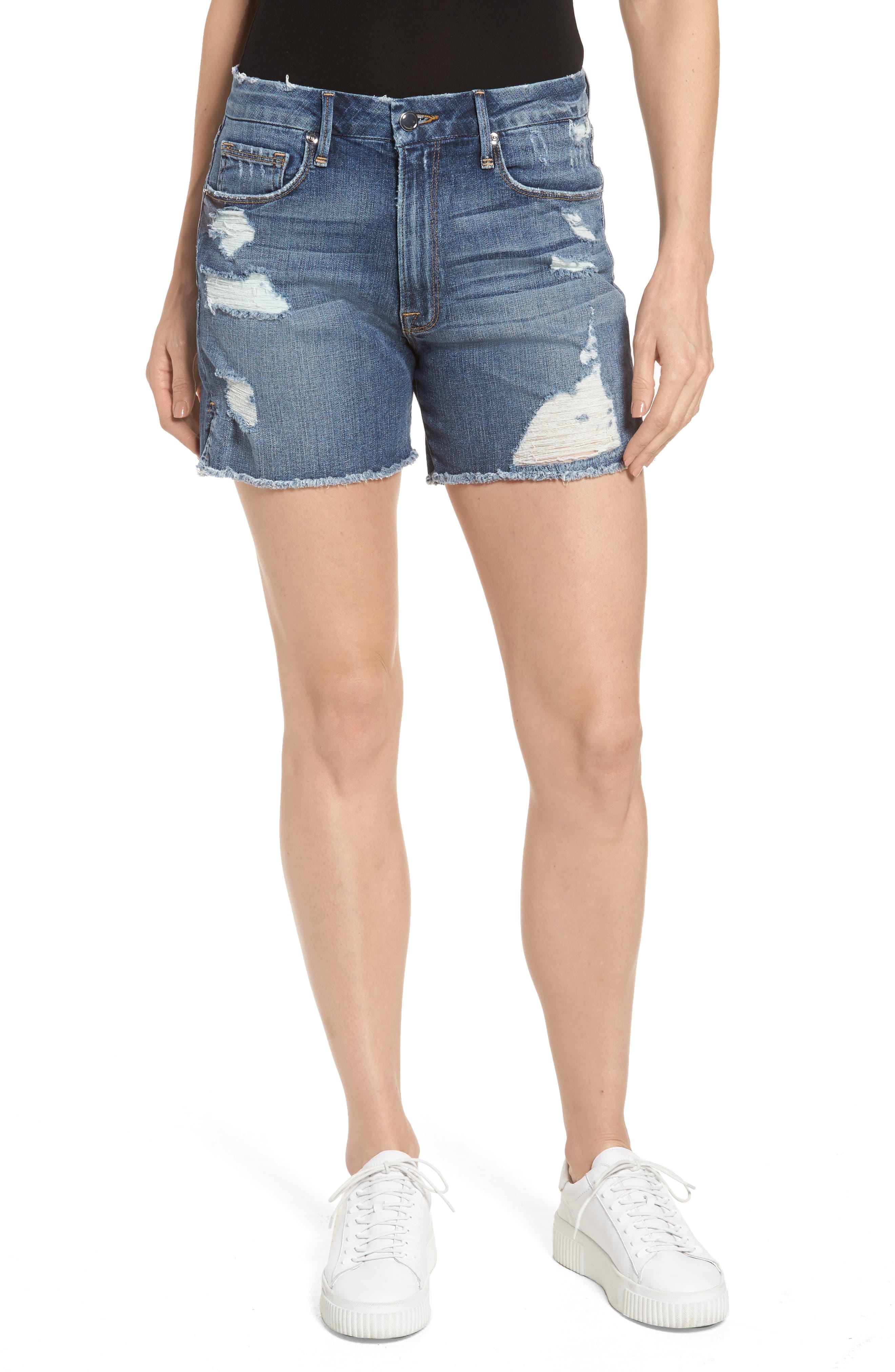 Good American High Waist Cutoff Denim Shorts (Blue 103) (Extended Sizes)