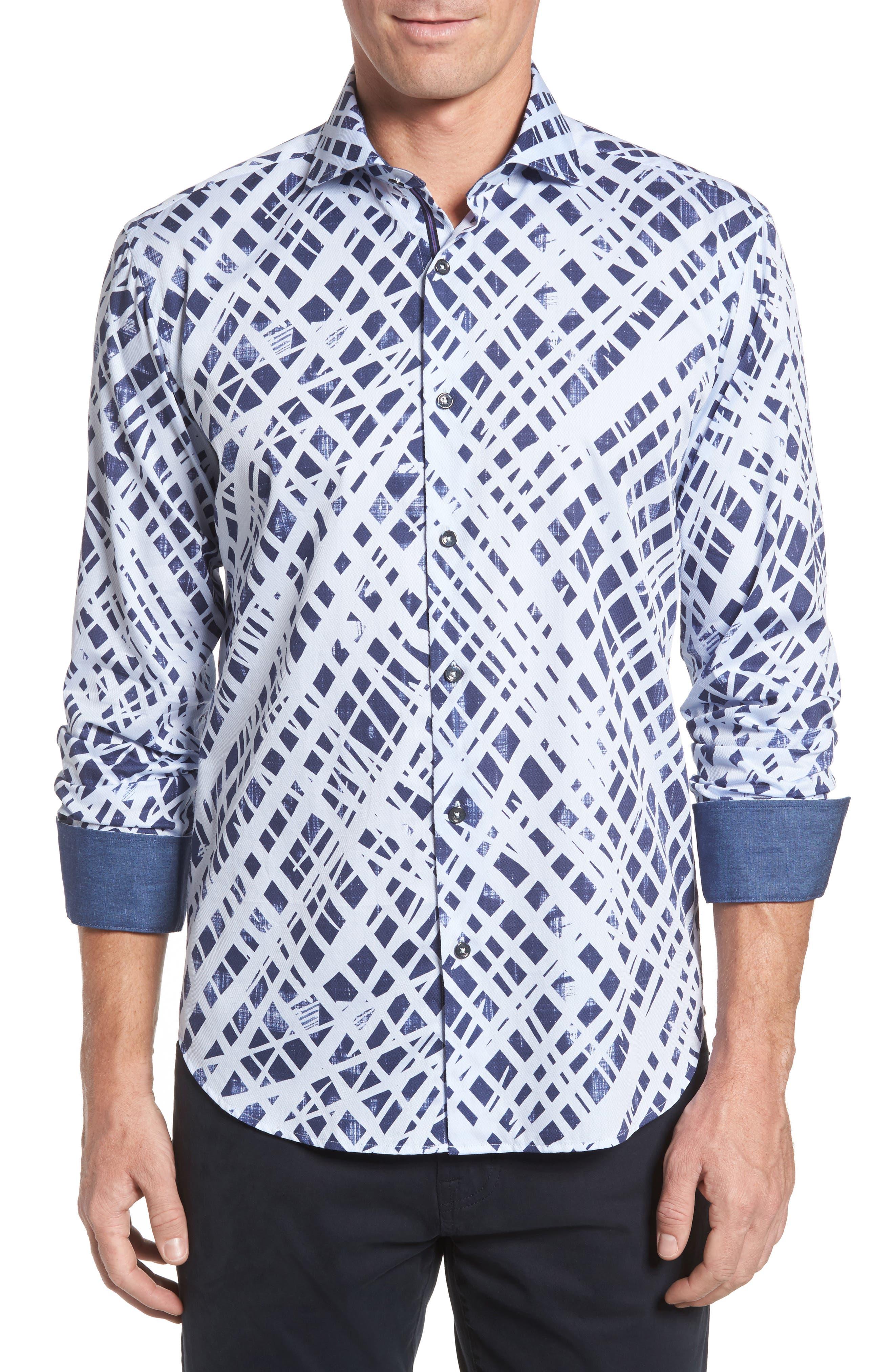 Shaped Fit Abstract Print Sport Shirt,                             Main thumbnail 1, color,                             Ice