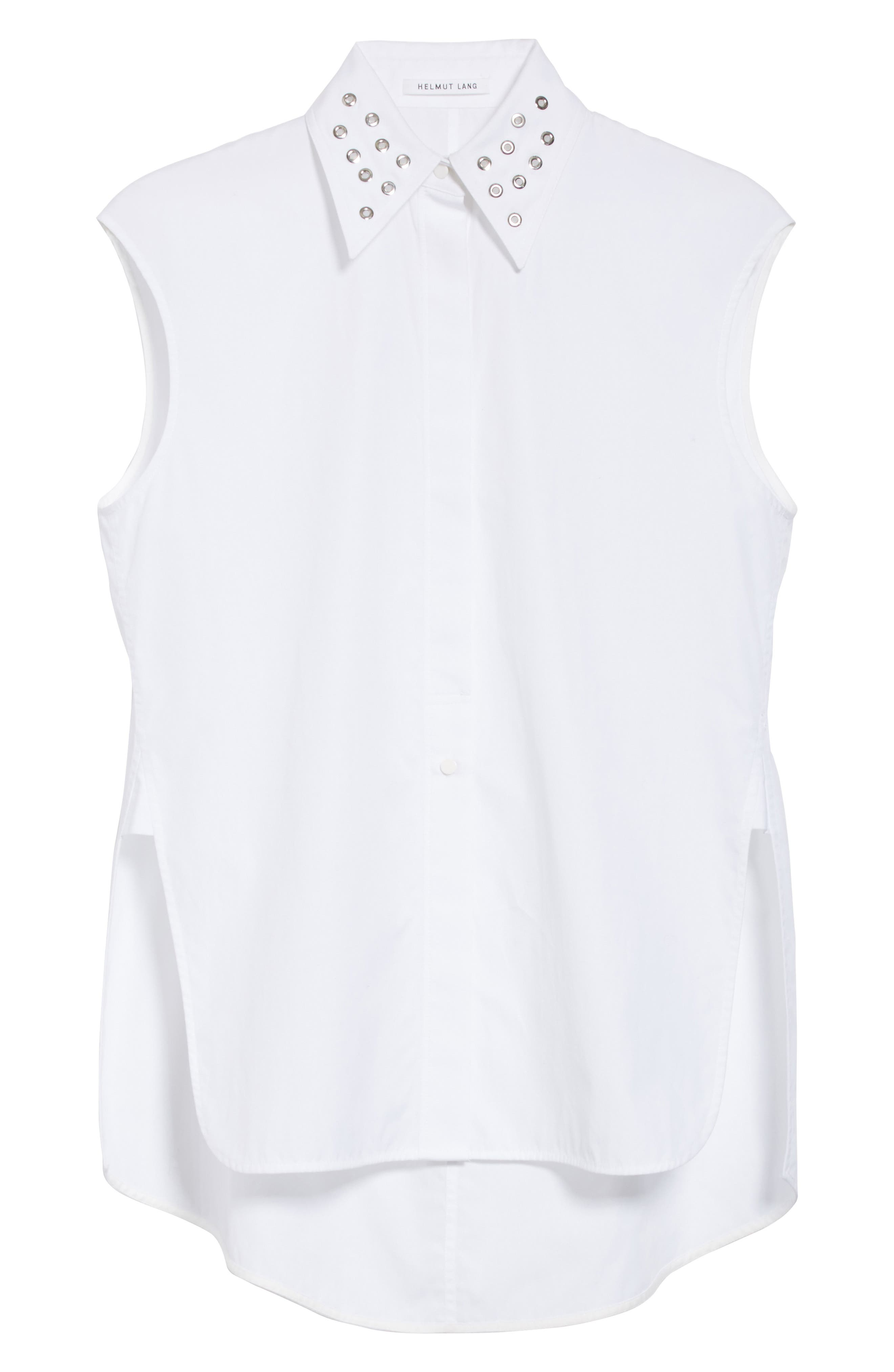 Eyelet Cotton Poplin Shirt,                             Alternate thumbnail 8, color,                             Bright White