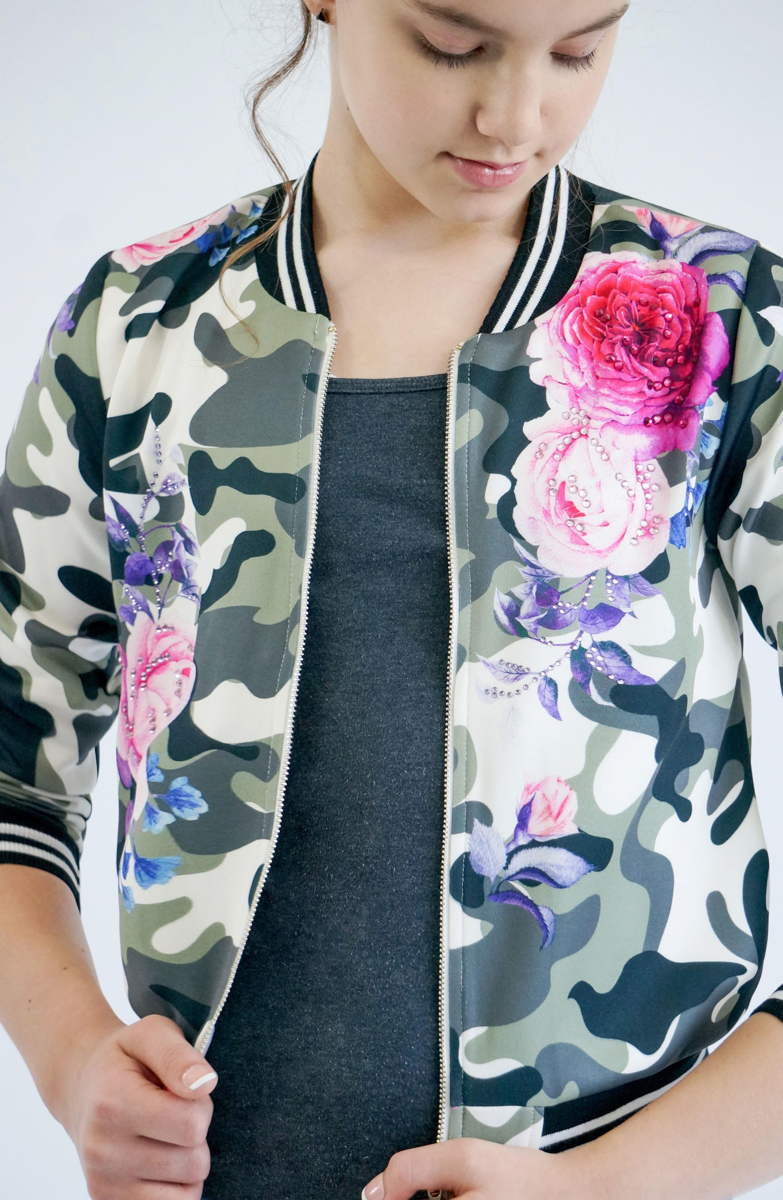 Camo & Rose Bomber Jacket,                             Alternate thumbnail 4, color,                             Green Multi