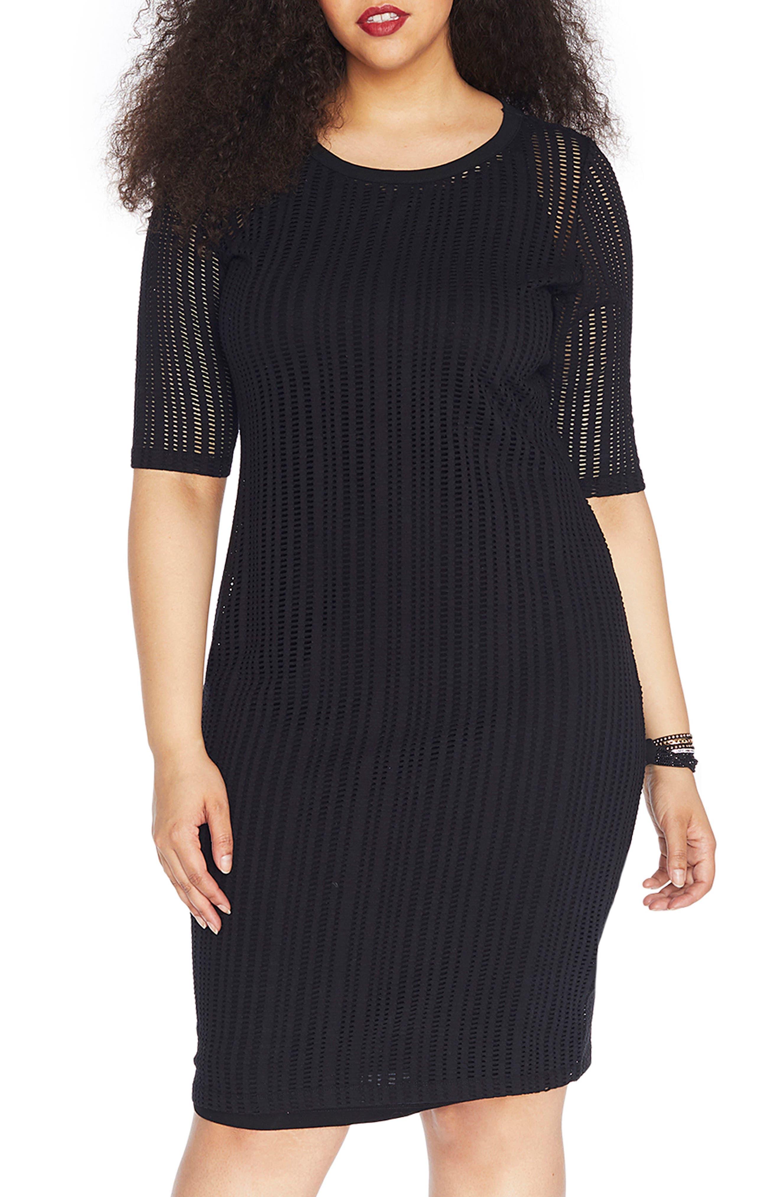 Stretch Jacquard Sheath Dress,                         Main,                         color, Black Beauty
