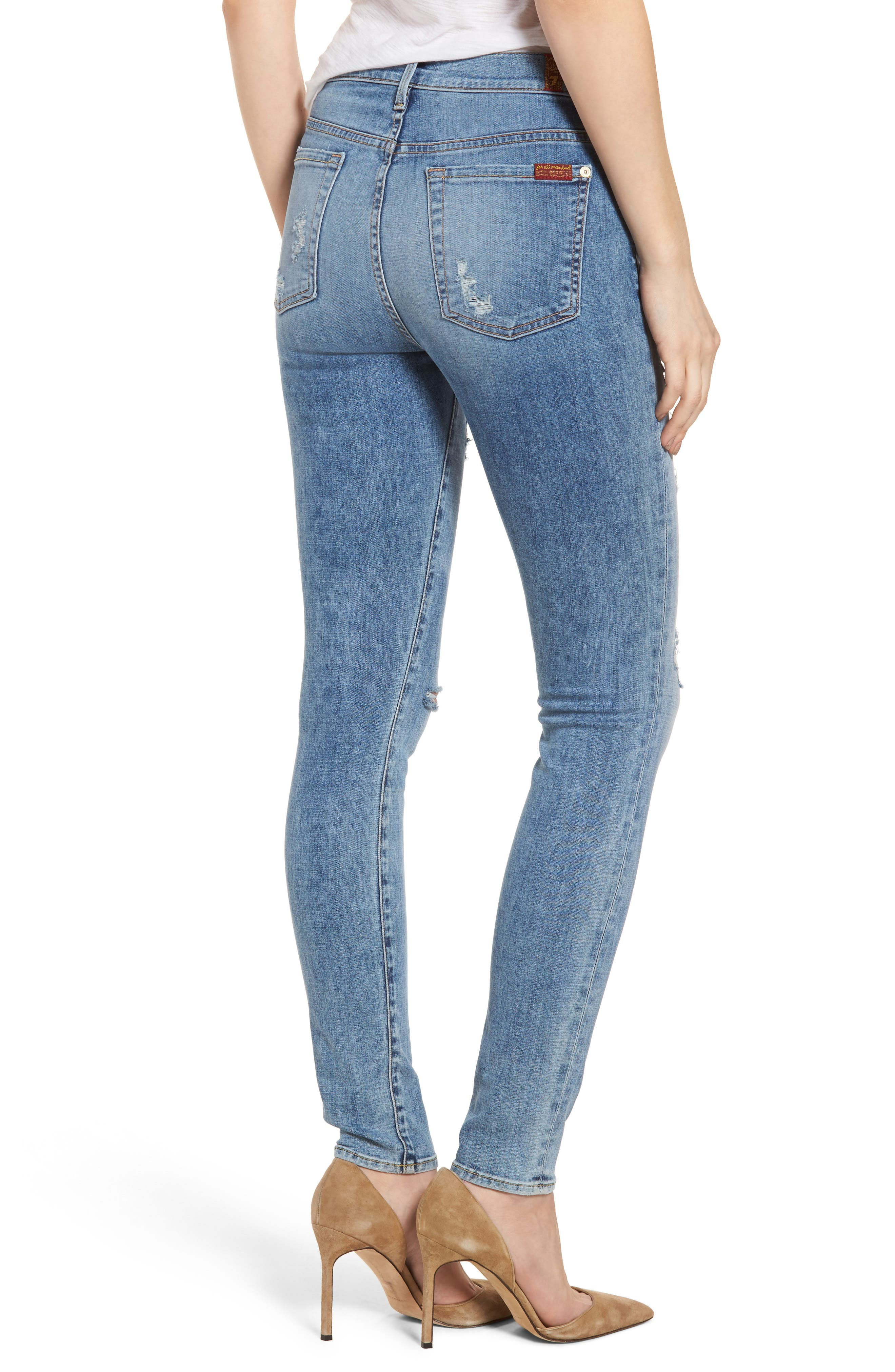 Alternate Image 2  - 7 For All Mankind® Ripped High Waist Skinny Jeans (Light Lafayette)